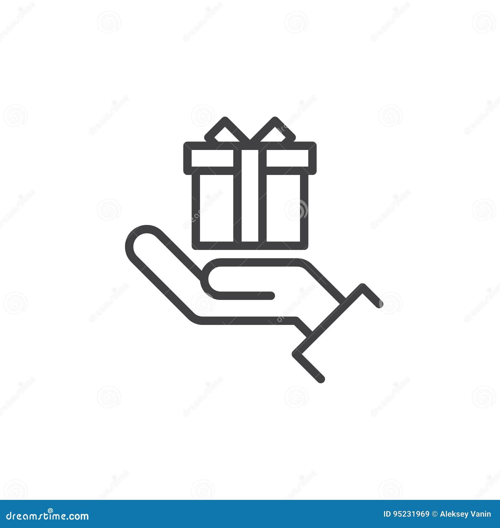 递拿着礼物盒线象,概述传染媒介标志,在白色隔绝的线性样式图表