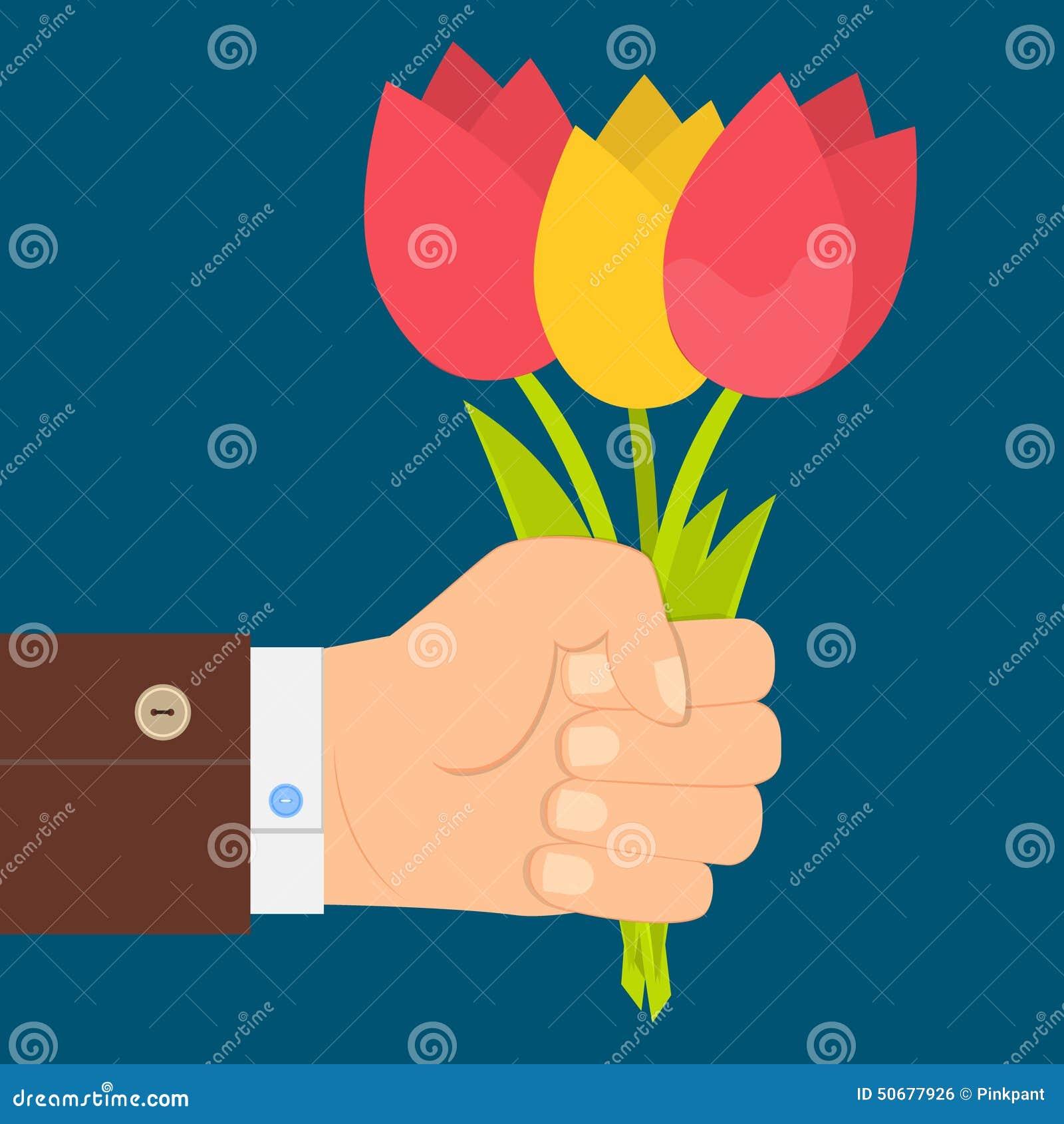 Download 递拿着郁金香,手中的郁金香花束花束  平的设计 库存例证. 插画 包括有 图画, 生日, 三叶草, 节假日 - 50677926