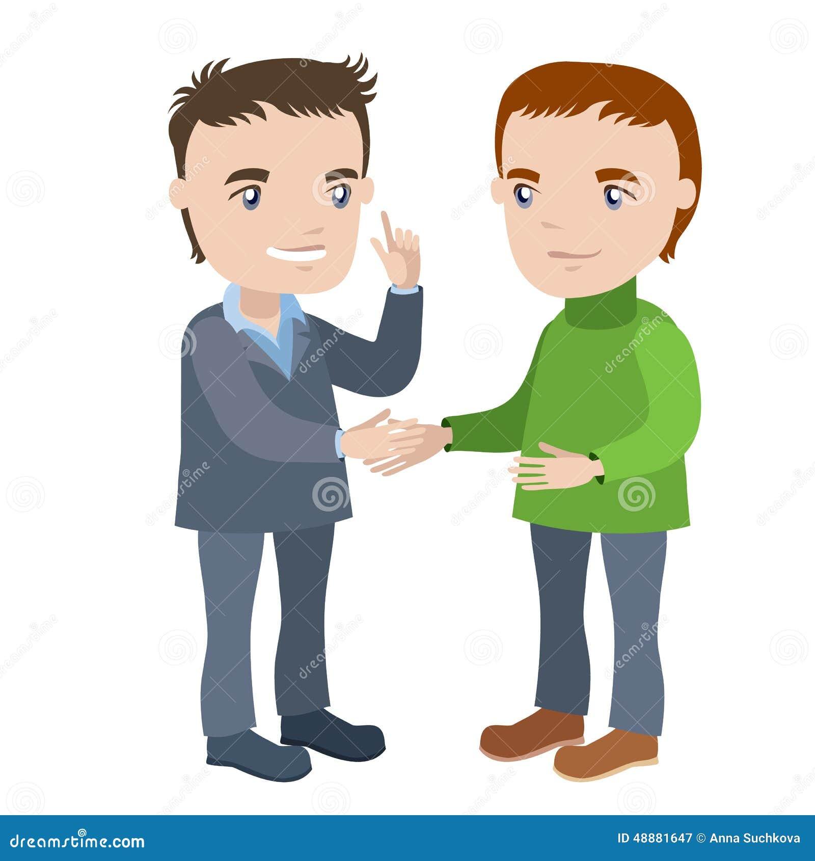握手-商人图画漫画人物系列的两个人.图片