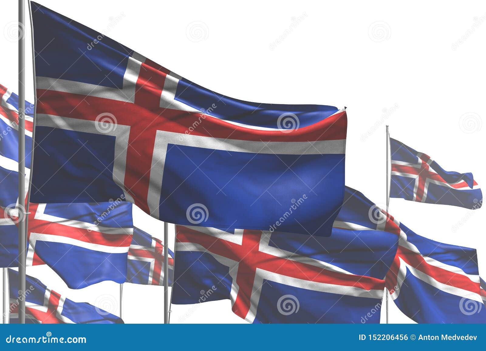 逗人喜爱任何假日旗子3d例证-许多冰岛旗子是在白色隔绝的波浪