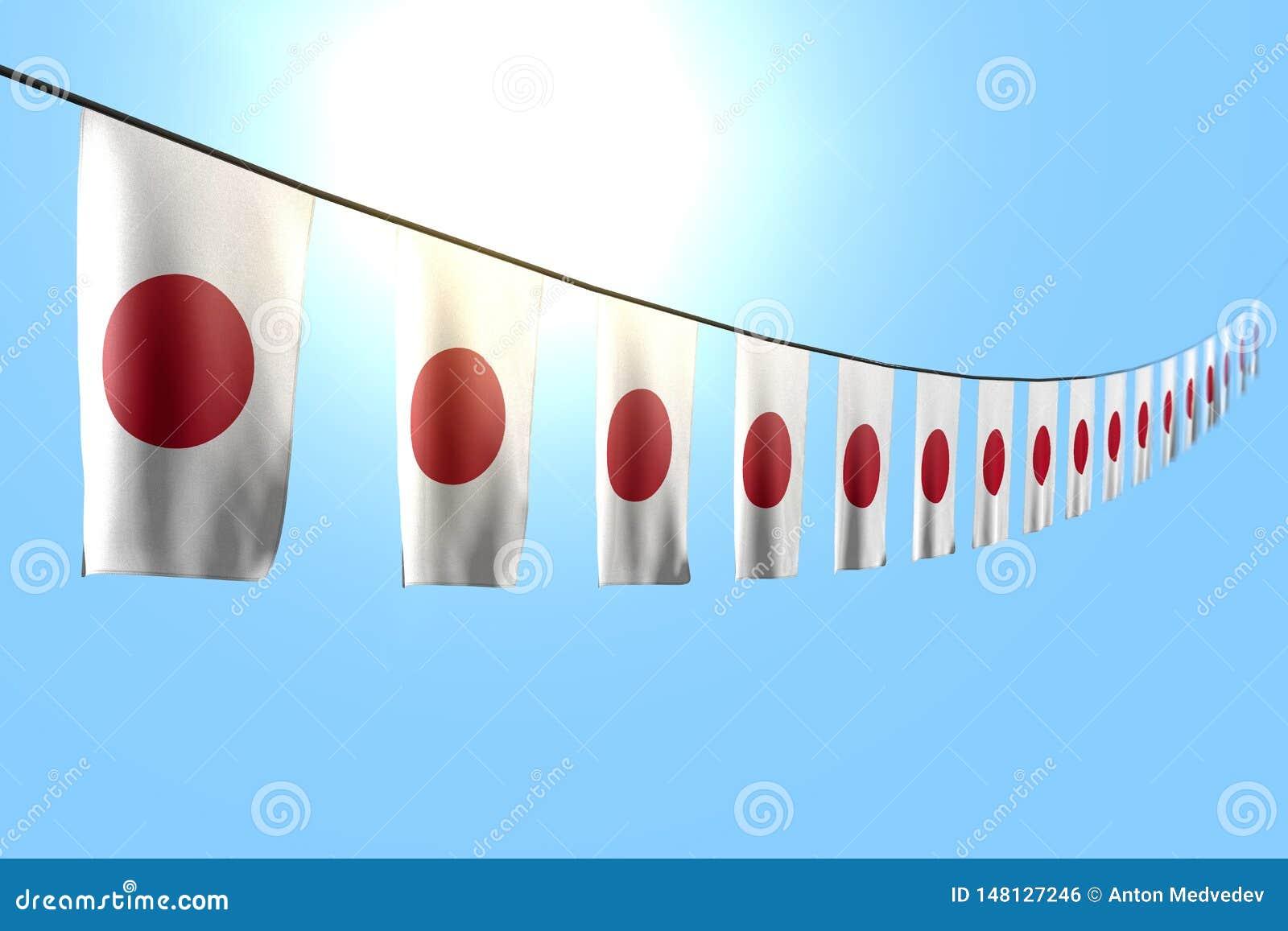 逗人喜爱任何宴餐旗子3d例证-垂悬在串的许多日本旗子或横幅对角线在与bokeh的天空蔚蓝背景
