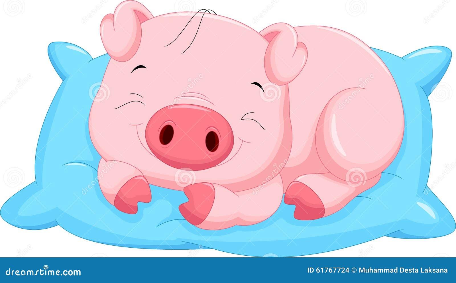逗人喜爱动画片小猪睡觉图片