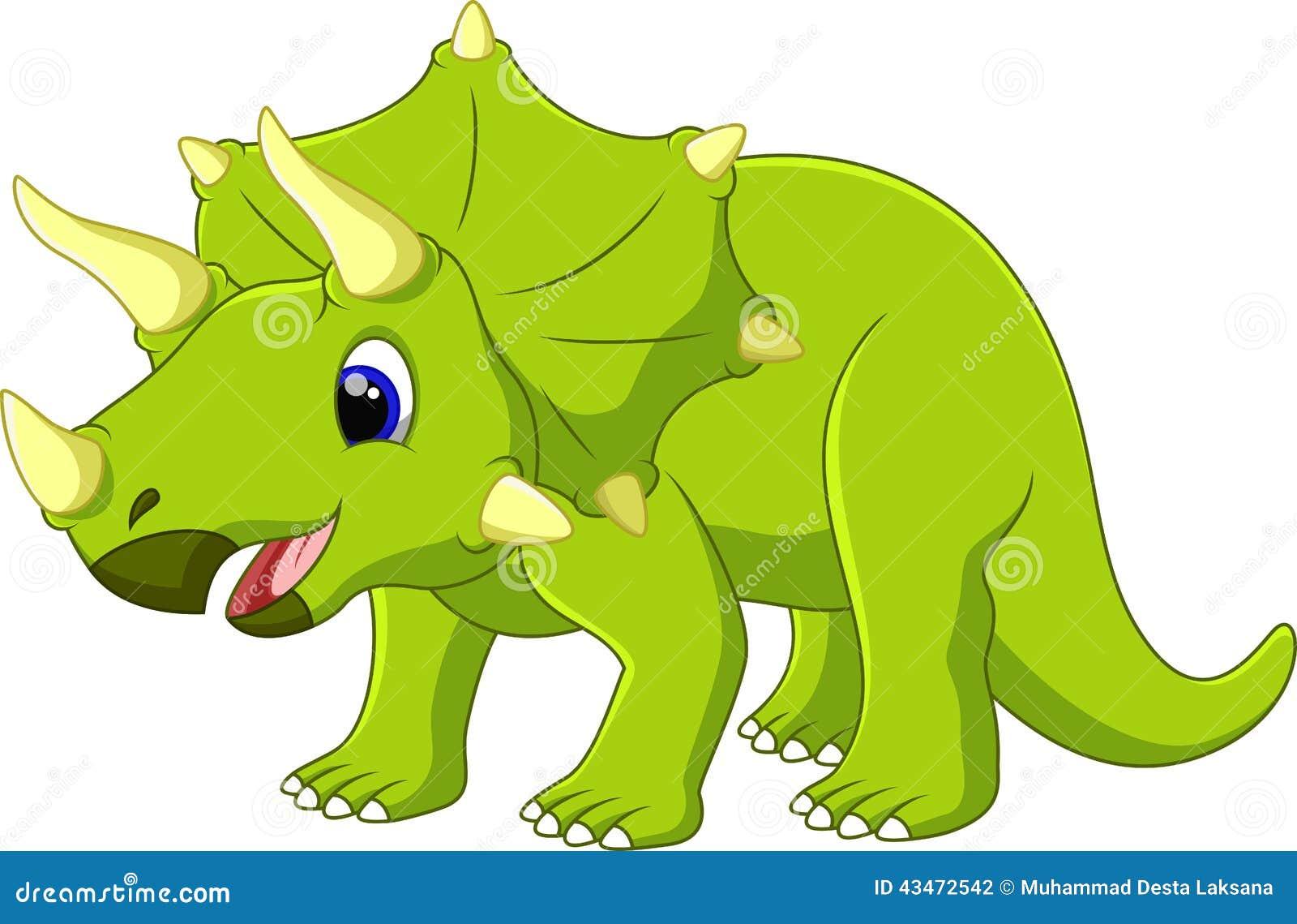 逗人喜爱的三角恐龙动画片有白色背景.图片