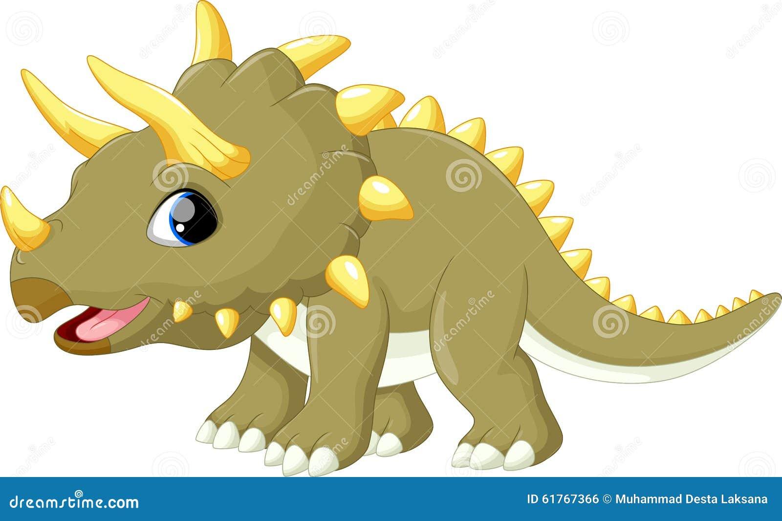 逗人喜爱的逗人喜爱的三角恐龙动画片的例证.图片