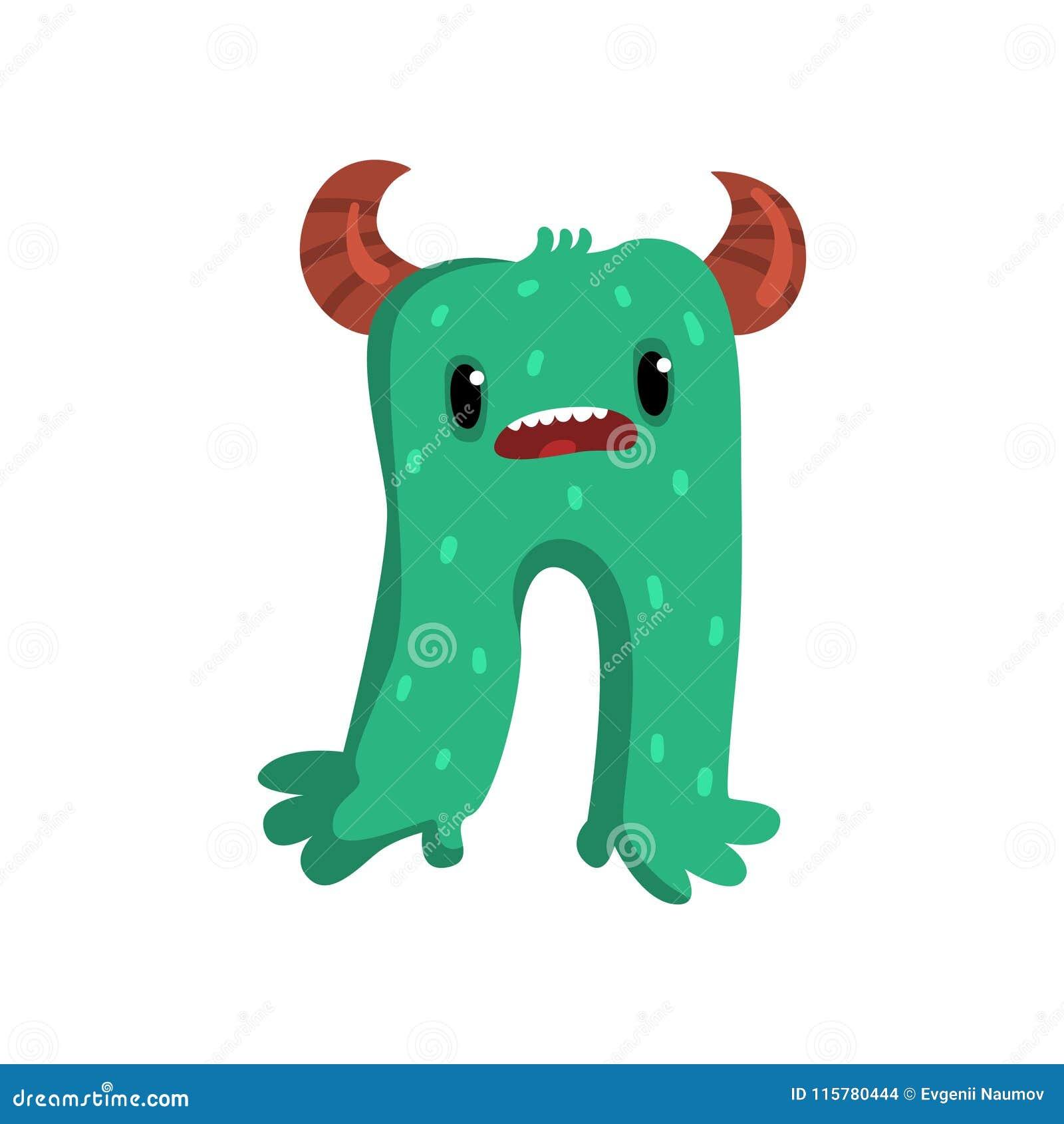 逗人喜爱的与滑稽的面孔传染媒介例证的动画片有角的绿色妖怪字符在白色背景
