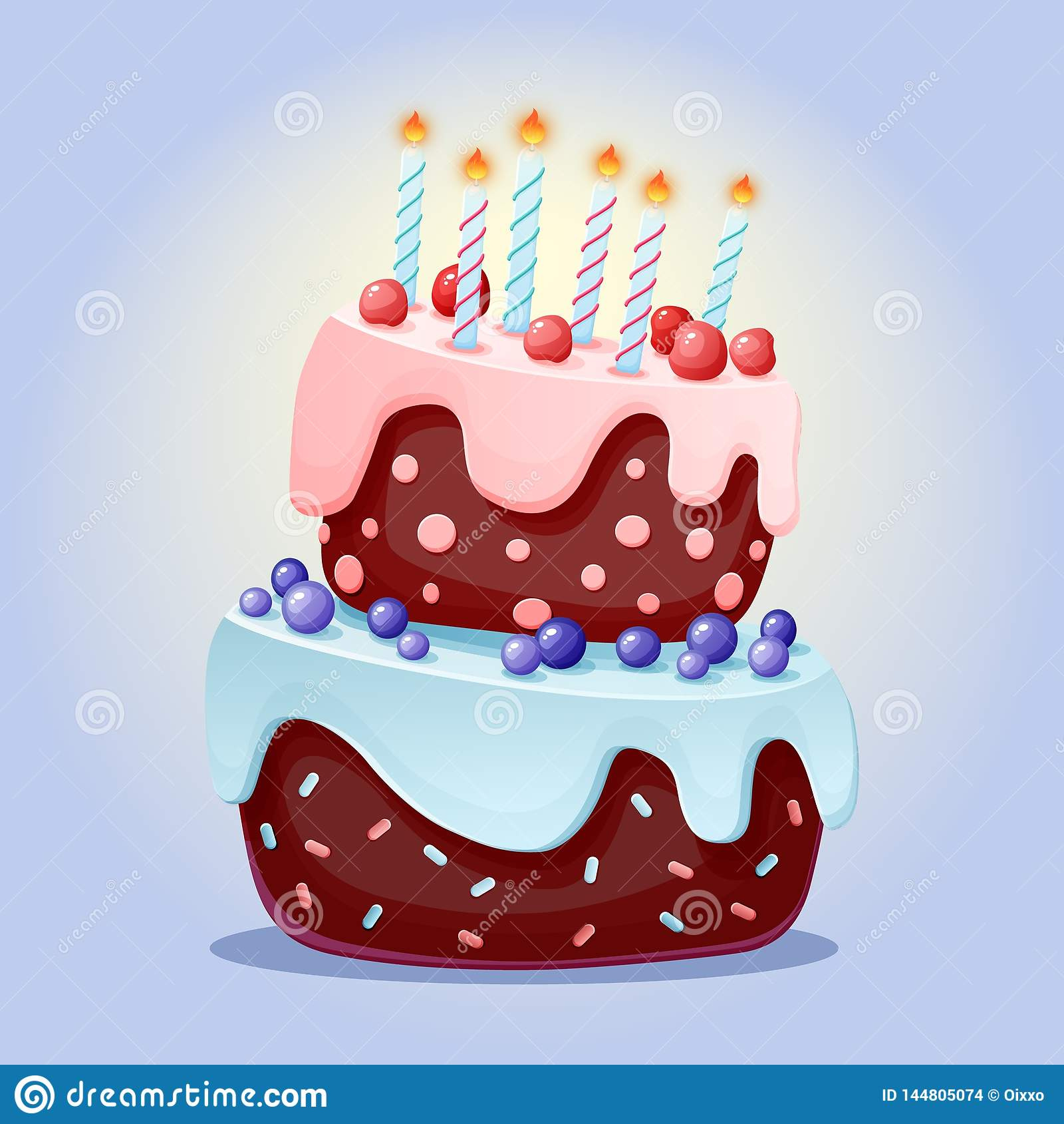 逗人喜爱的与蜡烛的动画片欢乐蛋糕 巧克力饼干用樱桃和蓝莓 对党,生日 ??????