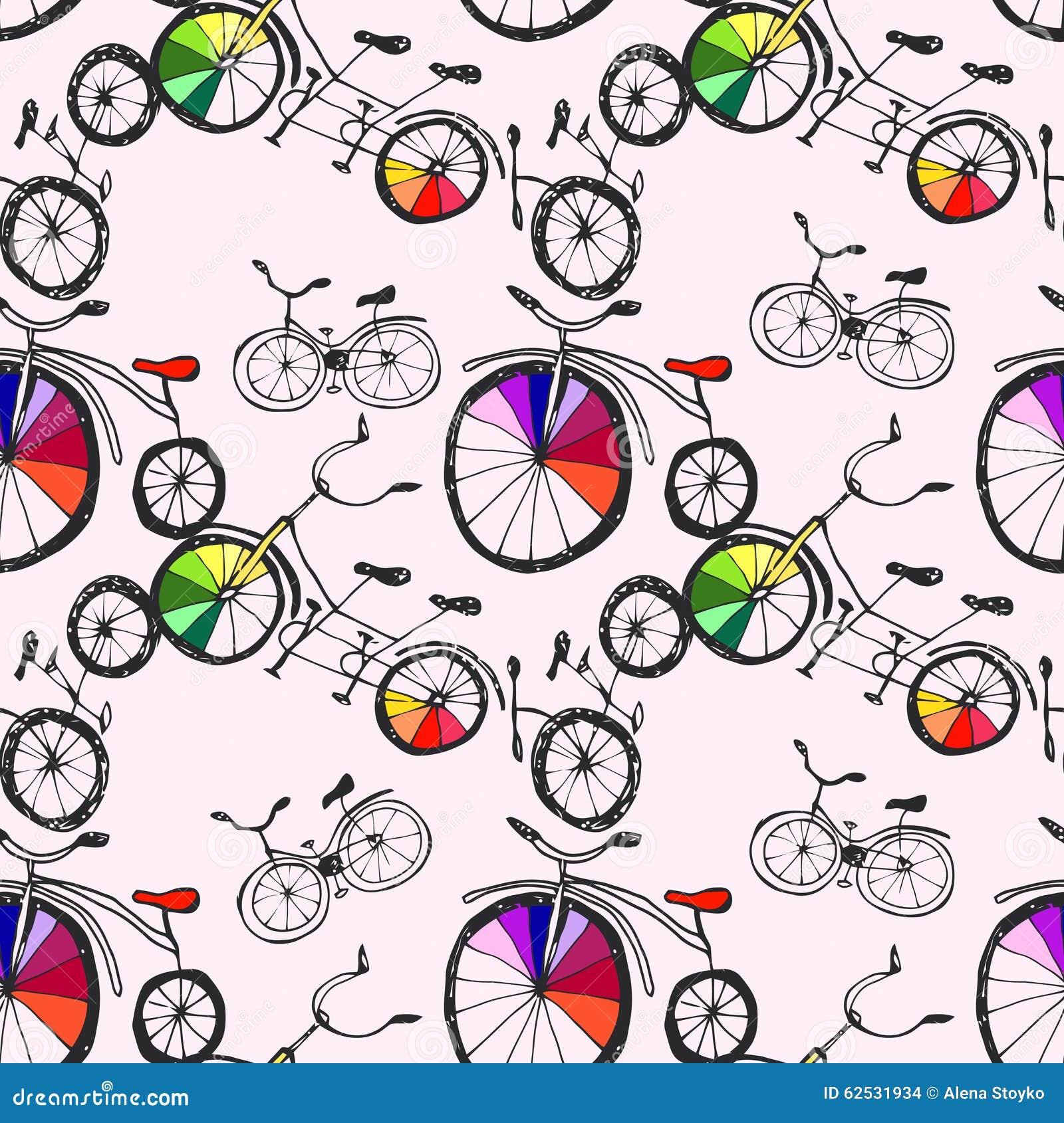逗人喜爱的乱画自行车