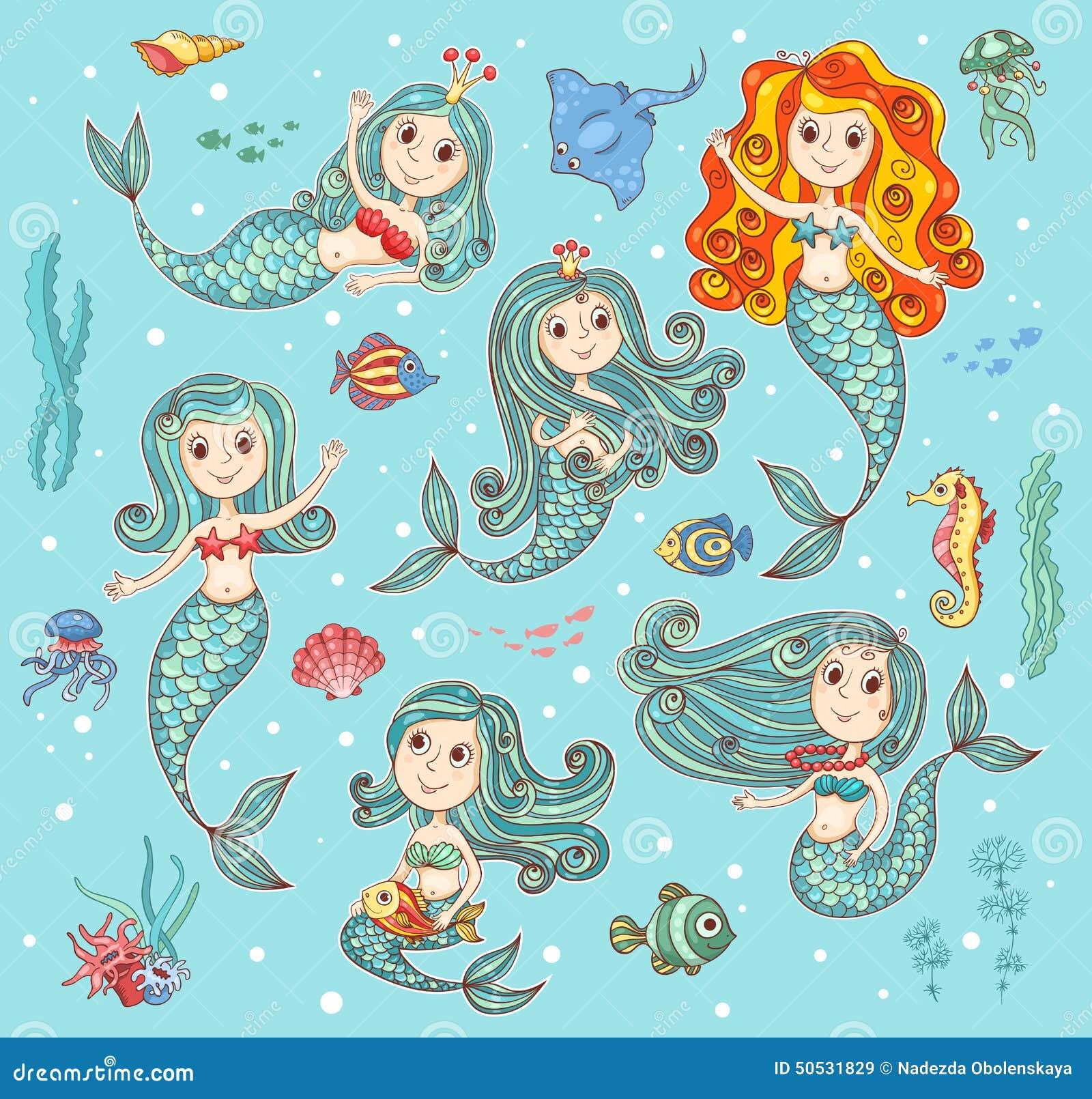 逗人喜爱的传染媒介设置与美人鱼