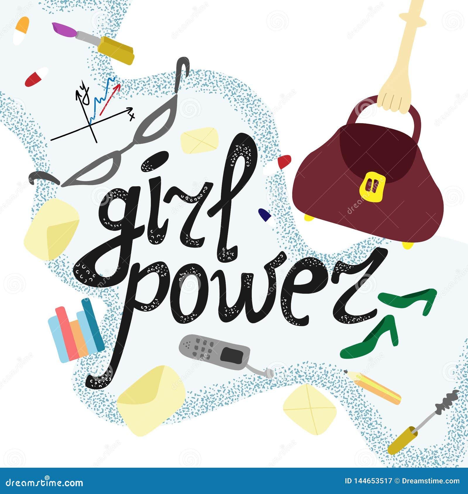 逗人喜爱的例证女孩企业力量