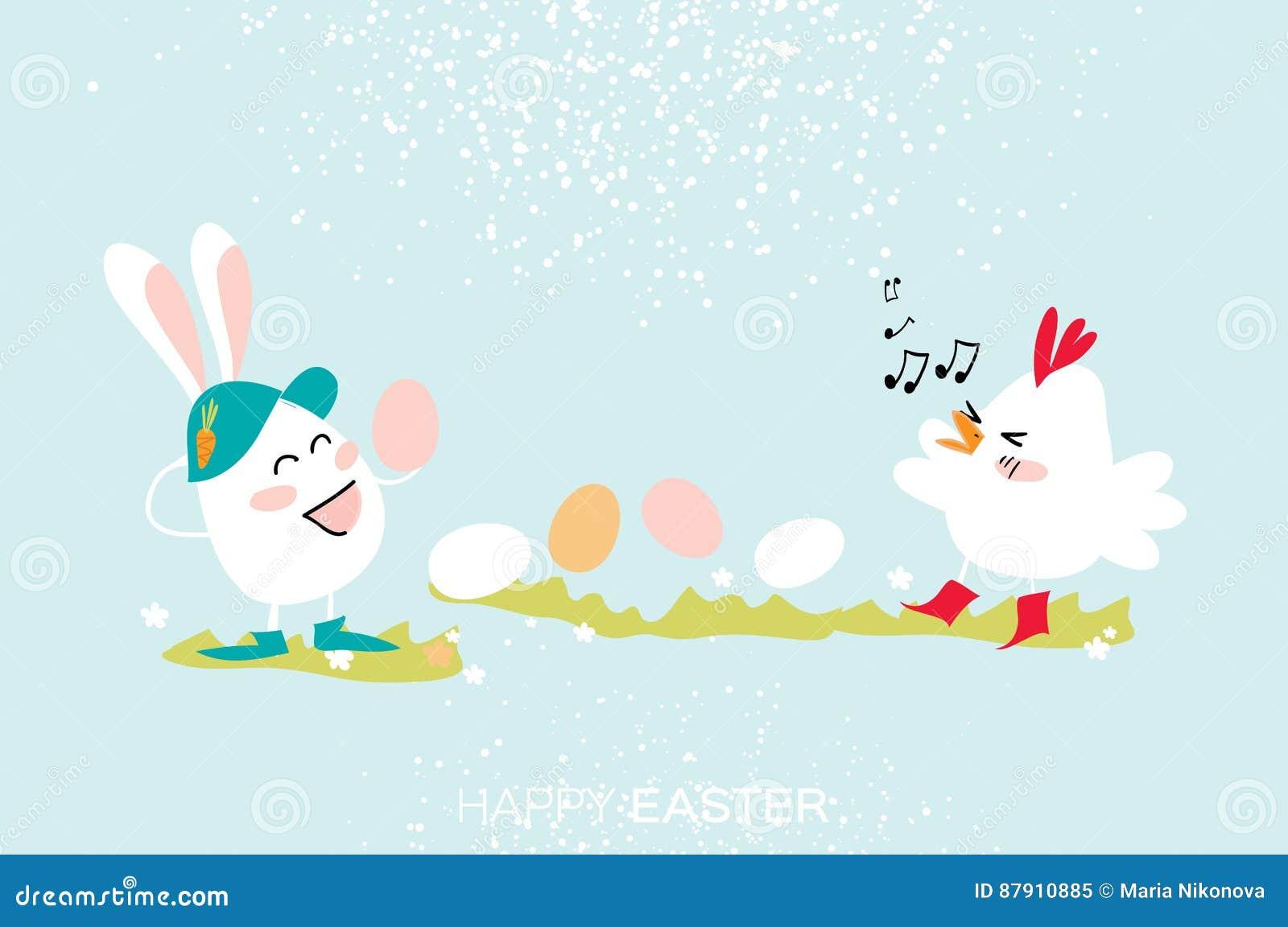 逗人喜爱的兔宝宝 小鸡唱歌 蛋跳舞 愉快的复活节