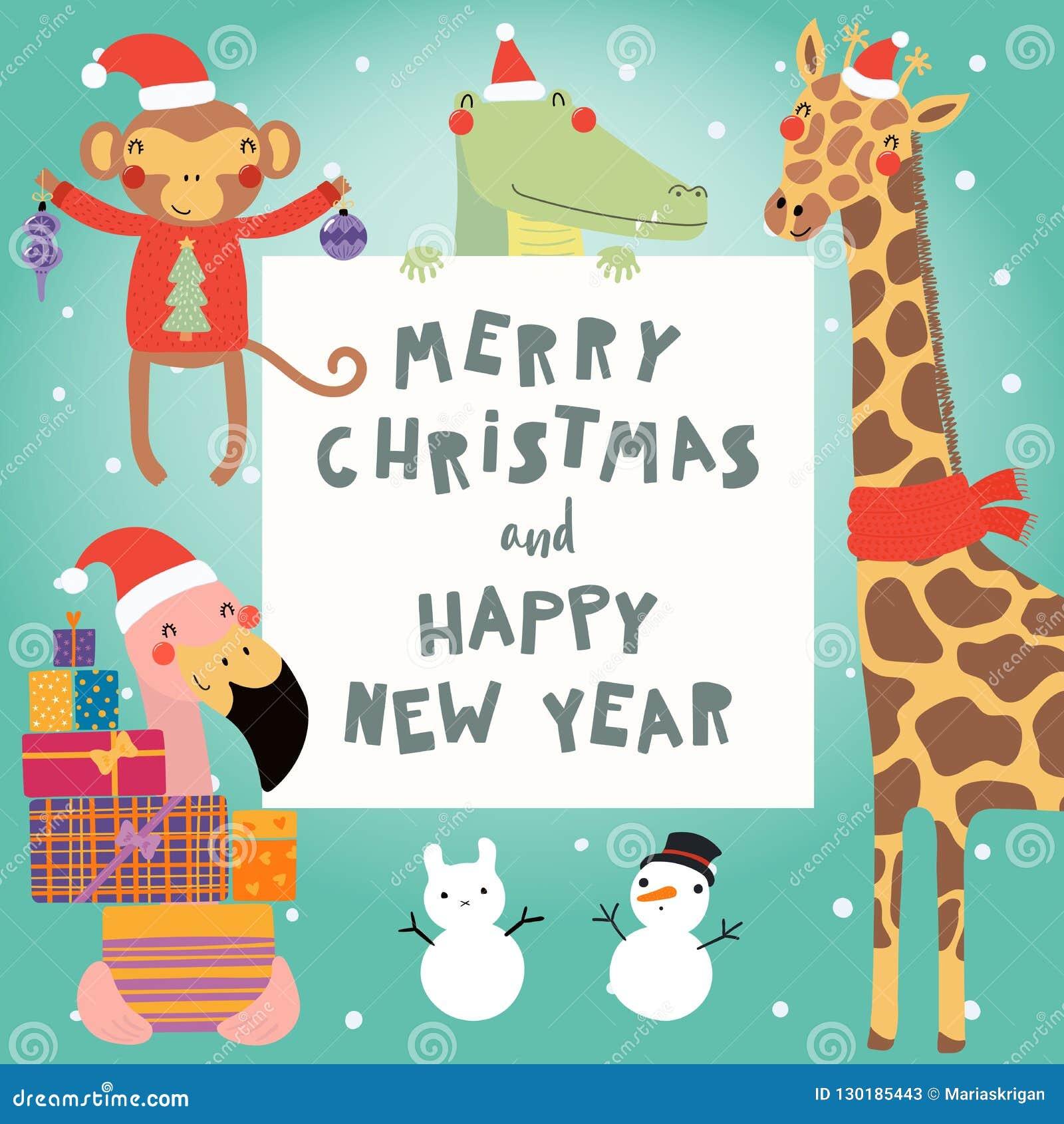 逗人喜爱的动物圣诞节集合
