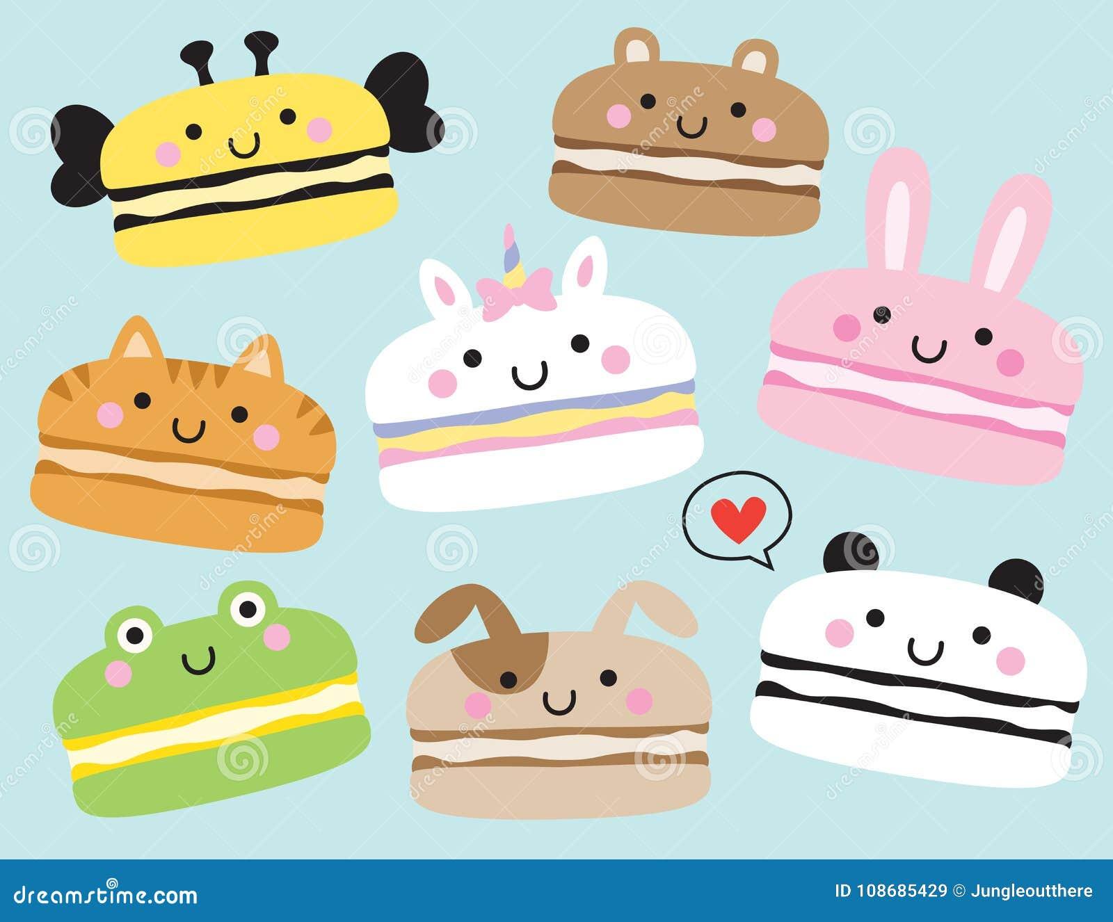 逗人喜爱的动物Macarons传染媒介例证