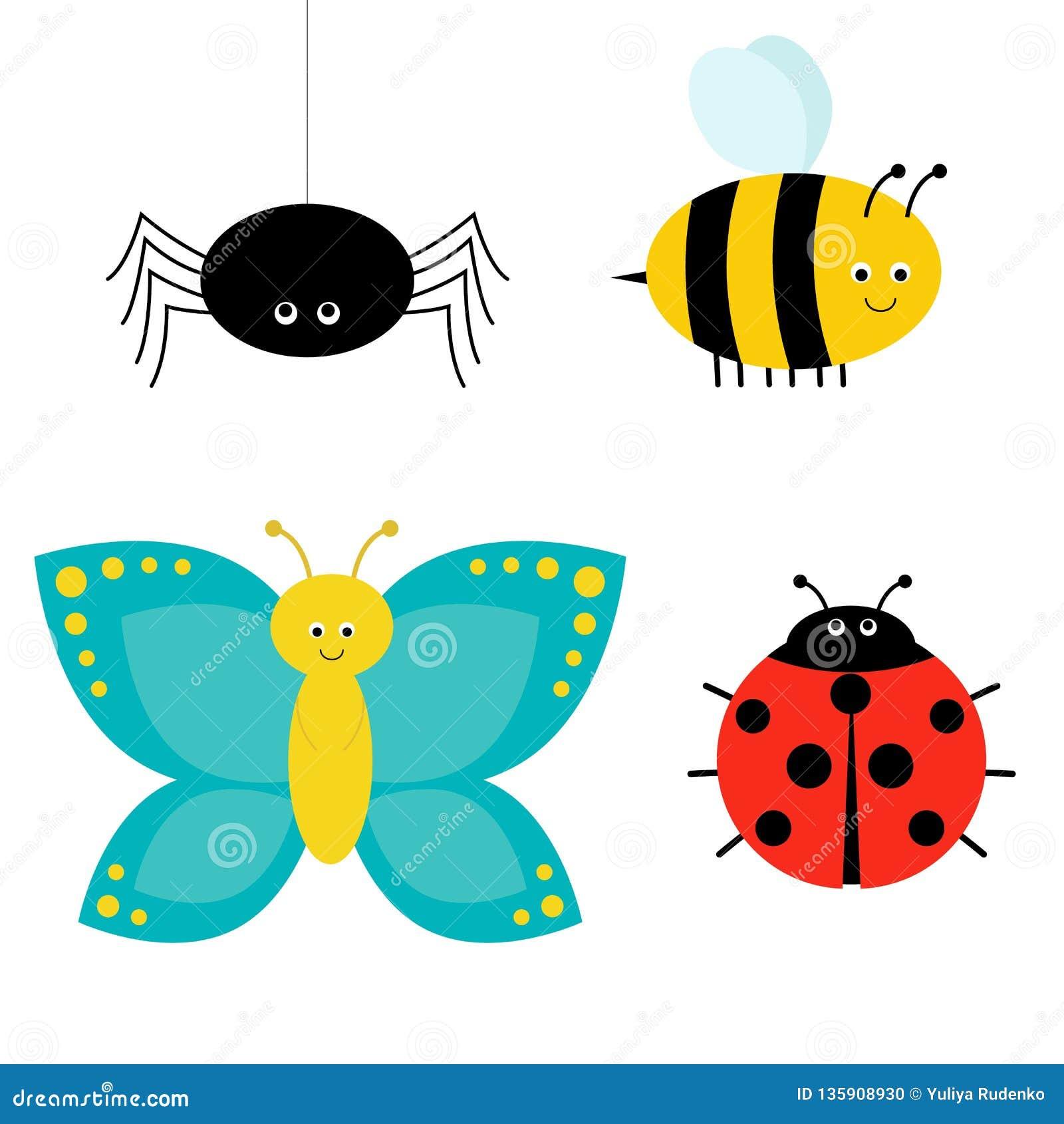 逗人喜爱的动画片昆虫集合 瓢虫、蜘蛛、蝴蝶和蜂 查出