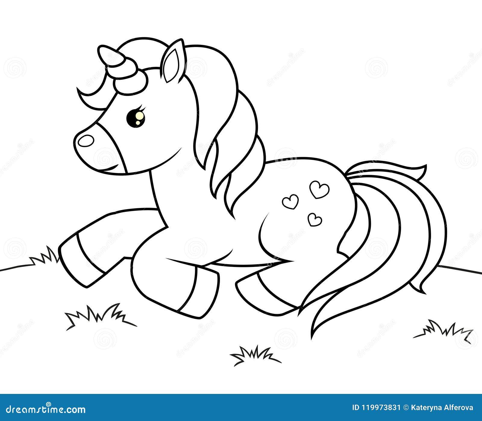 逗人喜爱的动画片独角兽 彩图的黑白传染媒介例证