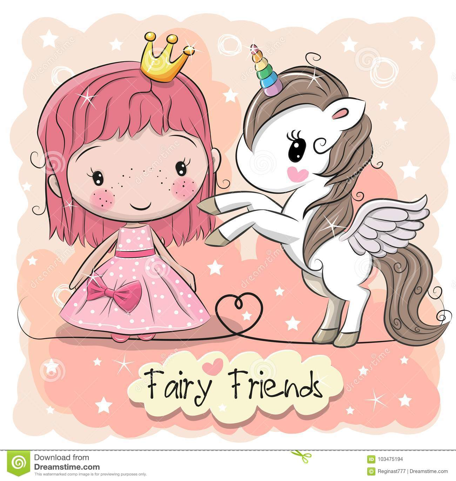 逗人喜爱的动画片童话公主和独角兽
