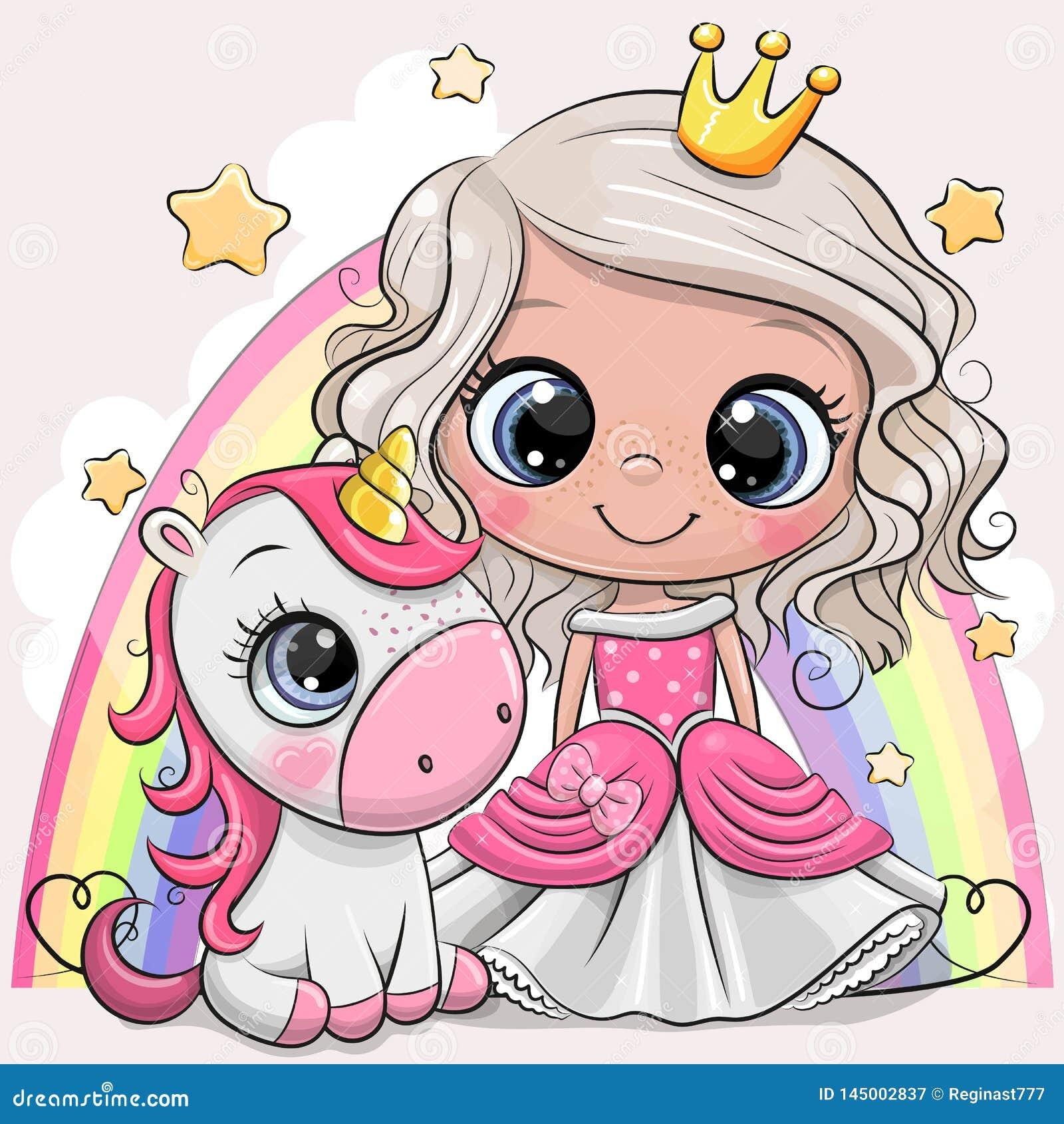 逗人喜爱的动画片童话当中公主和独角兽