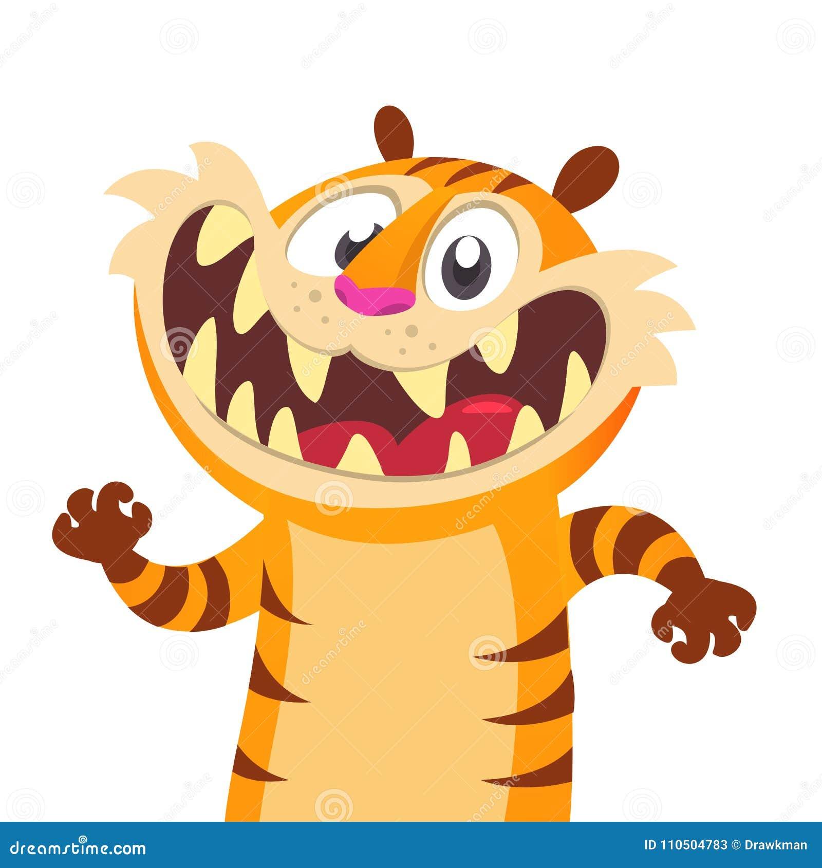 逗人喜爱的动画片老虎字符 野生动物汇集 婴孩教育 查出 奶油被装载的饼干 平的设计传染媒介例证