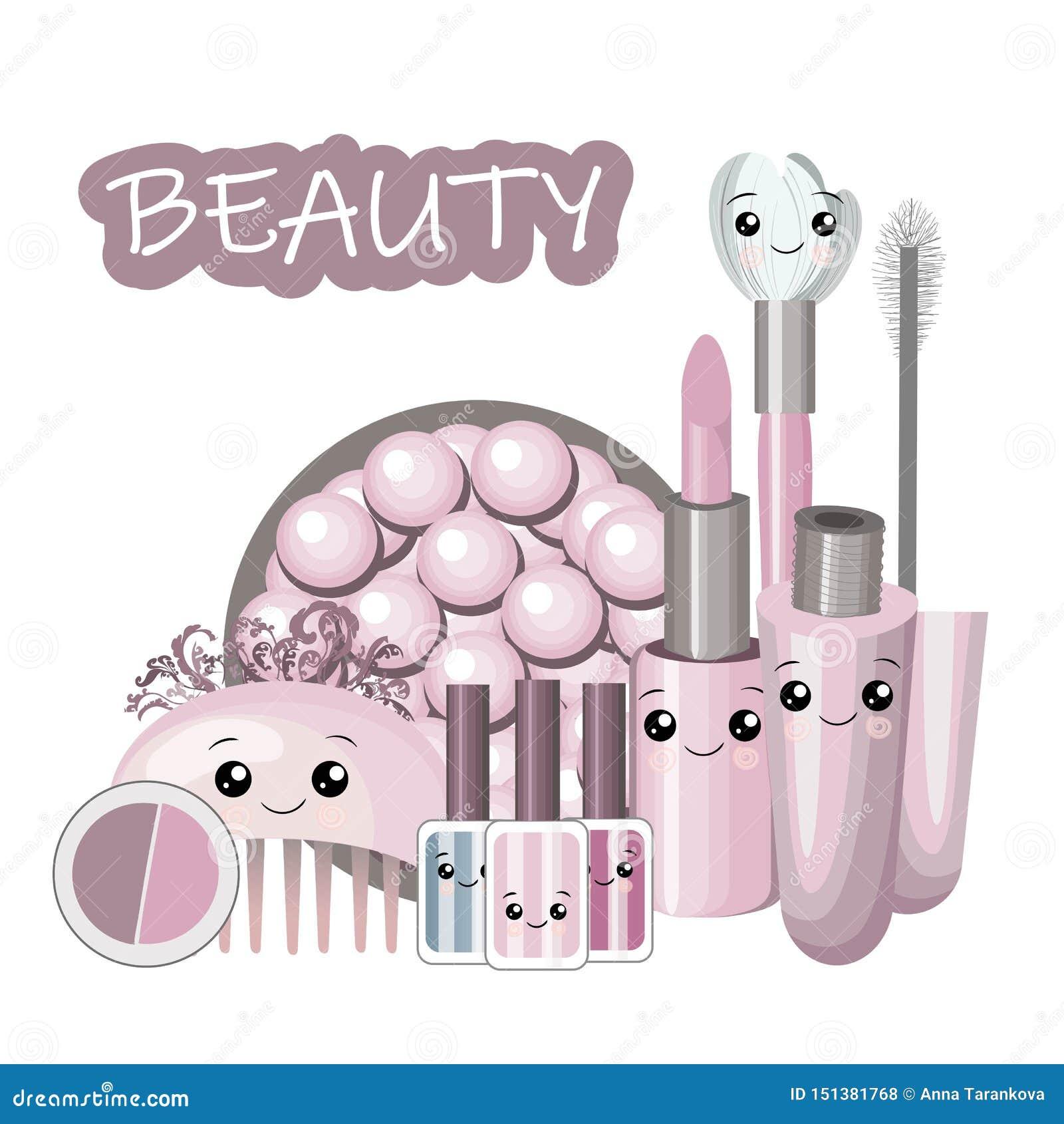 逗人喜爱的动画片设置与kawaii化妆用品和女孩秀丽辅助部件-面霜,香水,妇女材料概念,平展