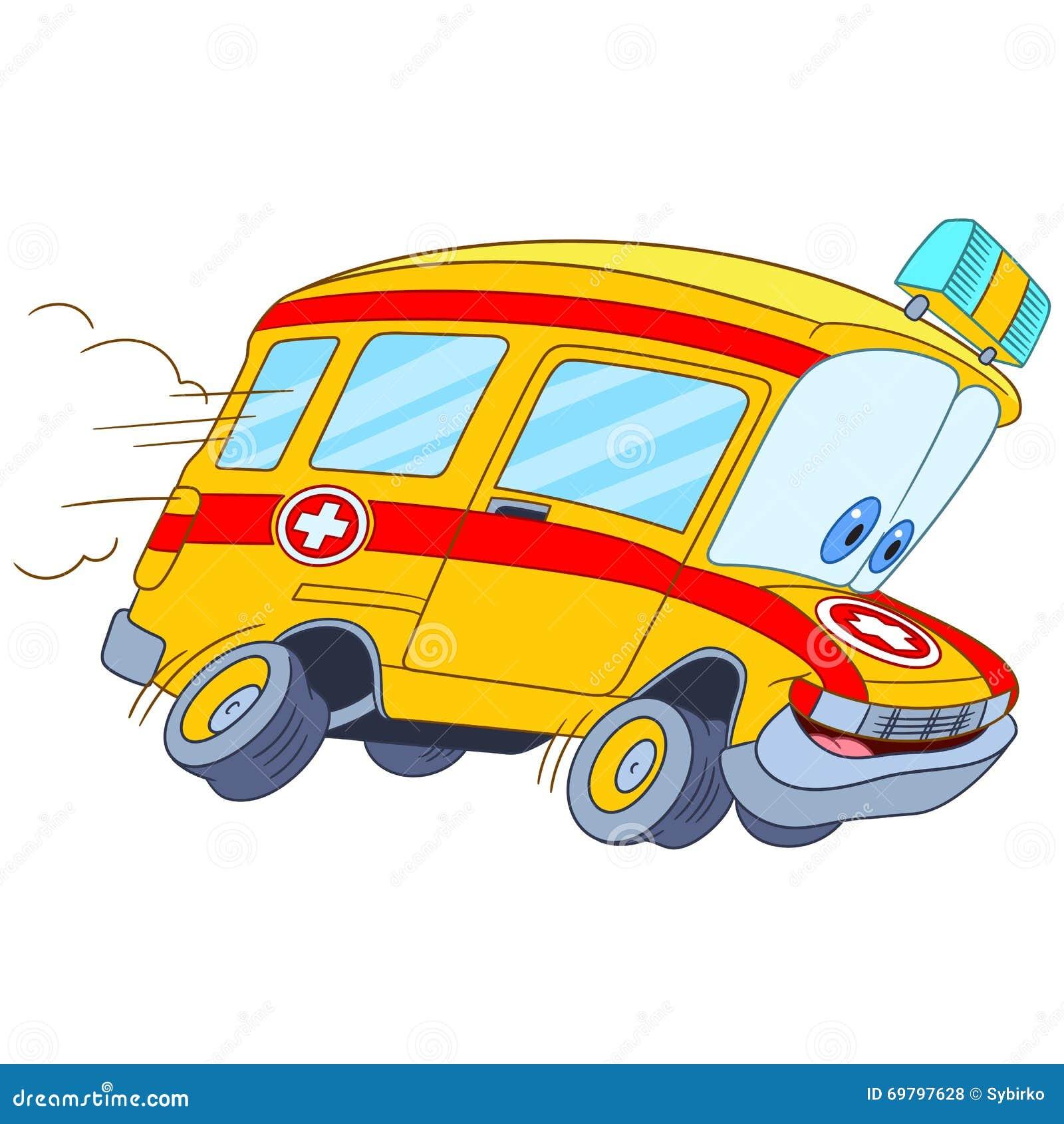 逗人喜爱和滑稽的幼稚动画片救护车汽车,传统化与孩子的人面,隔绝在图片