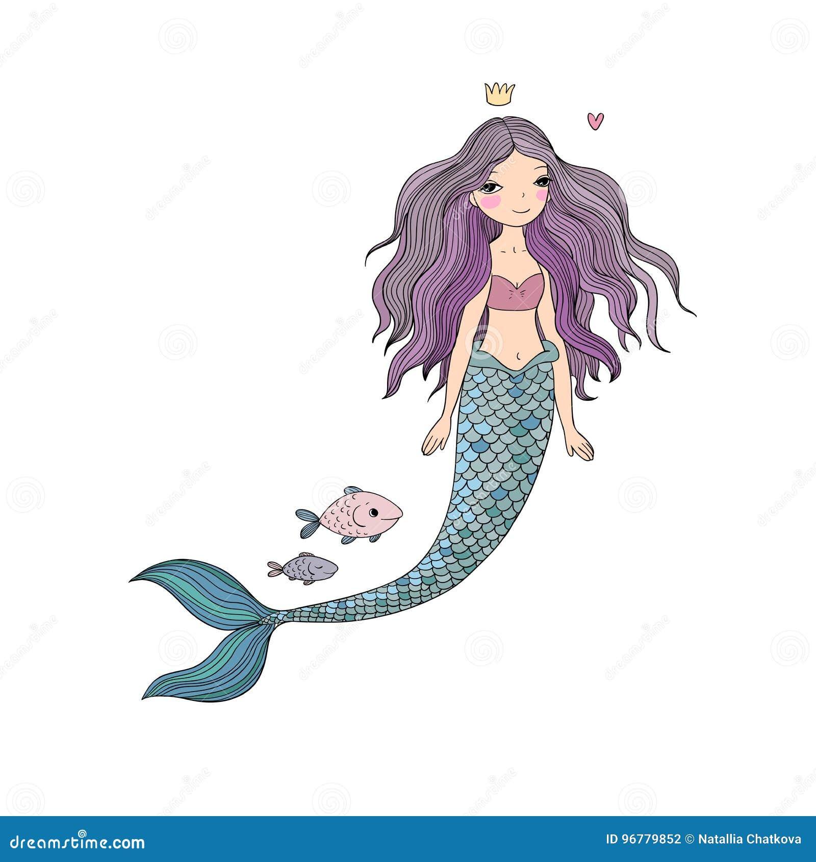 逗人喜爱的动画片美人鱼和鱼 警报器 抽象抽象背景海运主题 在空白背景的查出的对象