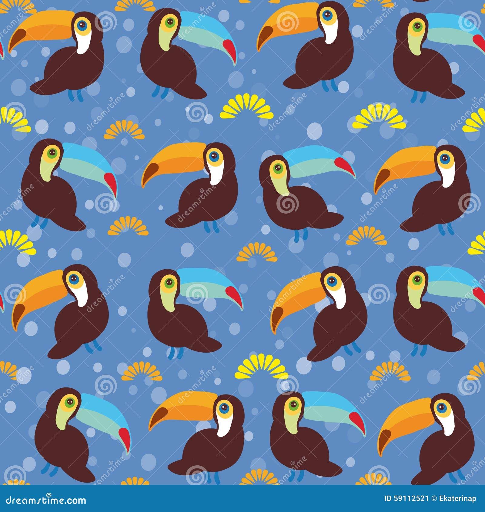 逗人喜爱的动画片toucan鸟在蓝色背景设置了