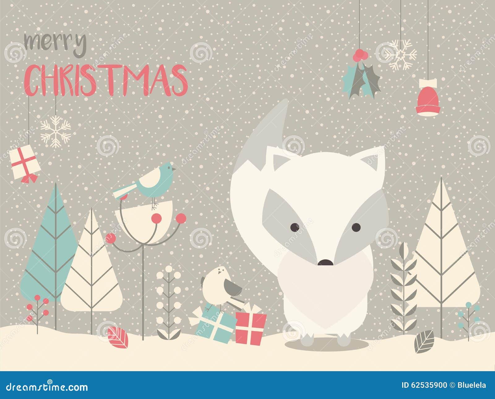 逗人喜爱的北极圣诞节小狐狸围拢与花卉装饰