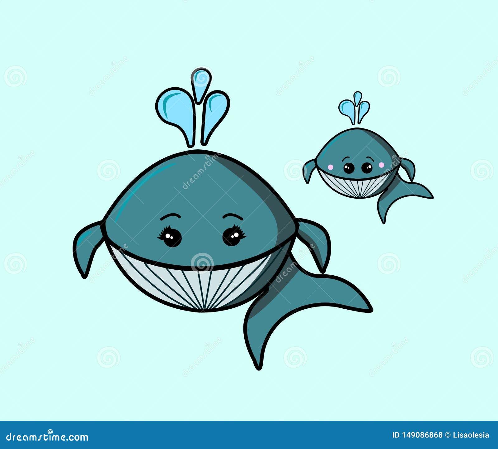 逗人喜爱的卡通人物海生动物 母亲鲸鱼和小的鲸鱼 灰色条纹 使用水喷泉  Kawaii??
