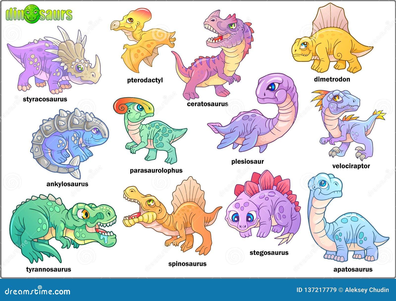 逗人喜爱的史前恐龙,套图象,滑稽的例证