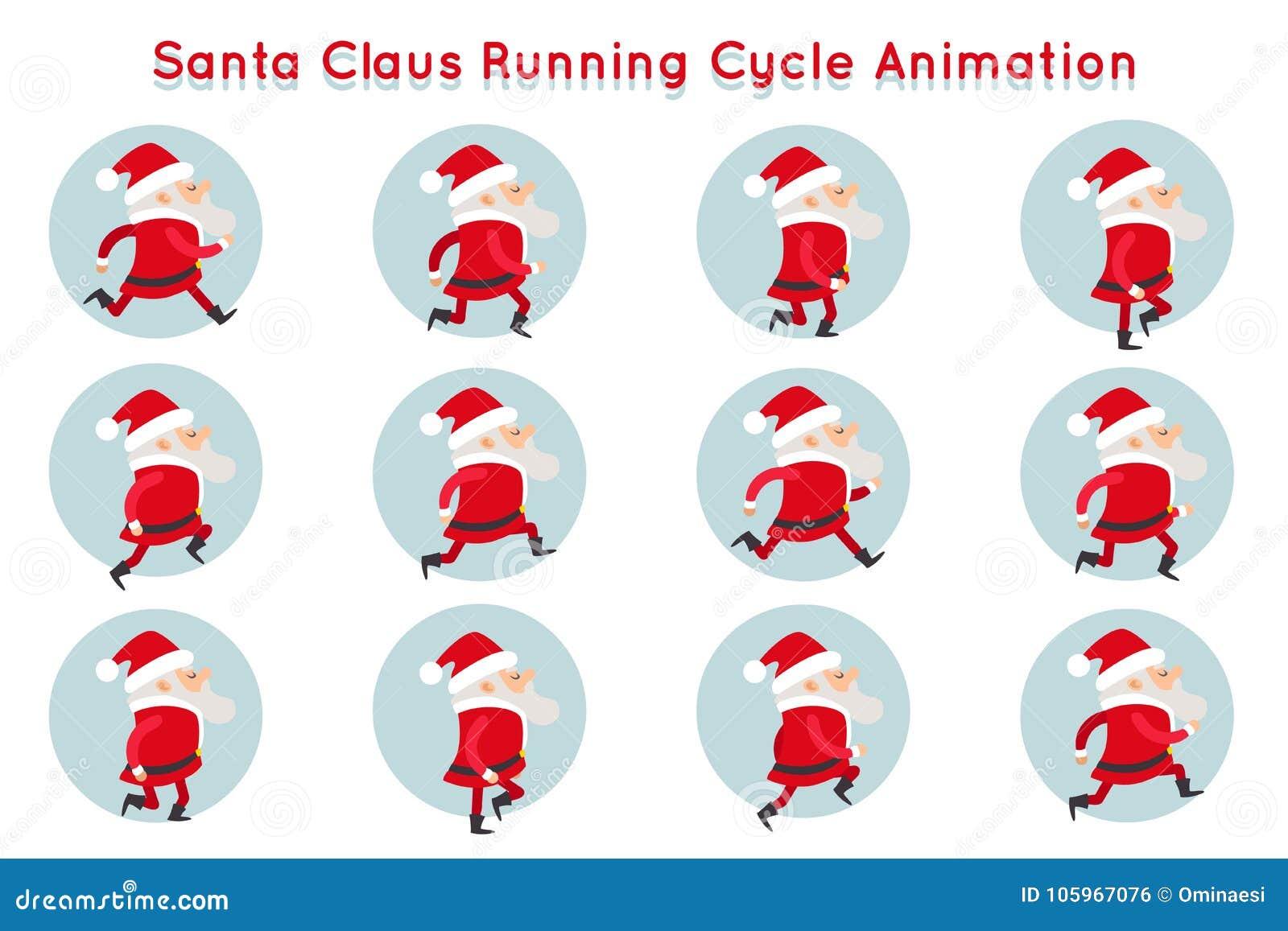 逗人喜爱的圣诞老人滑稽的运行周期动画漫画人物构筑传染媒介例证