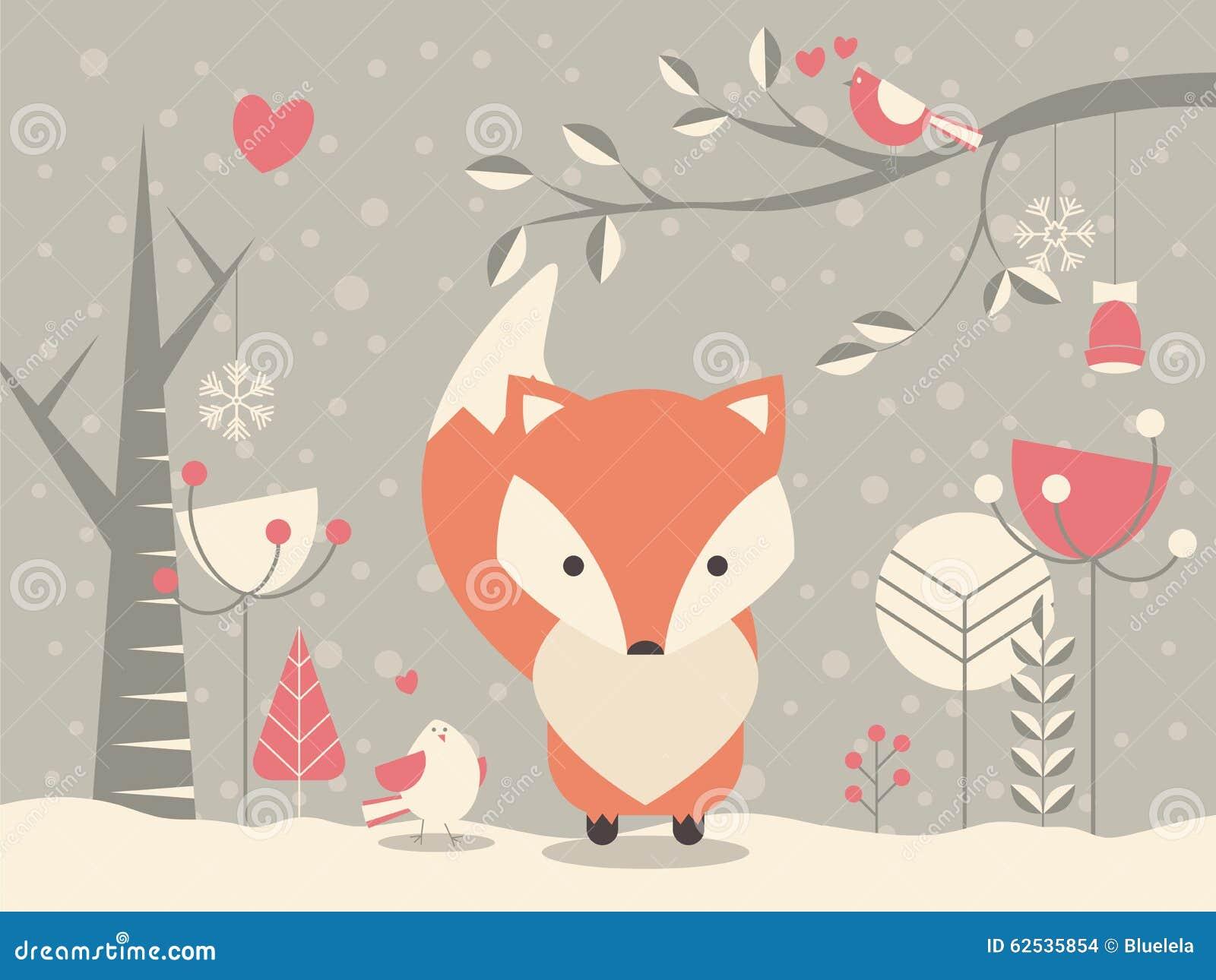 逗人喜爱的圣诞节小狐狸围拢与花卉装饰