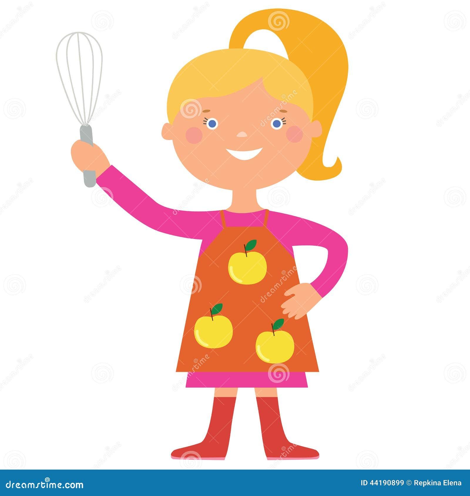 逗人喜爱的女孩厨师字符图片