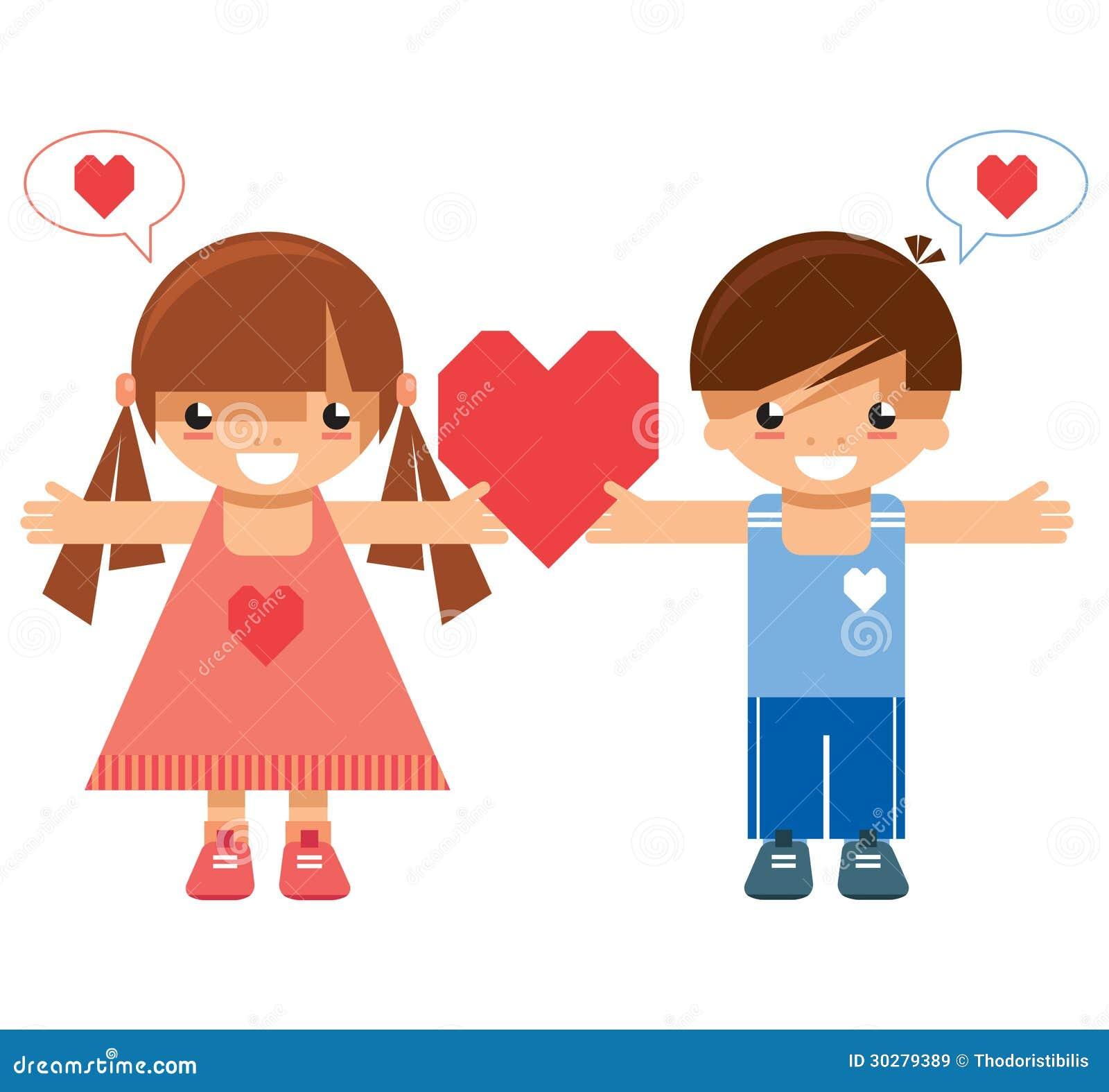 拿着同一心脏的女孩和男孩