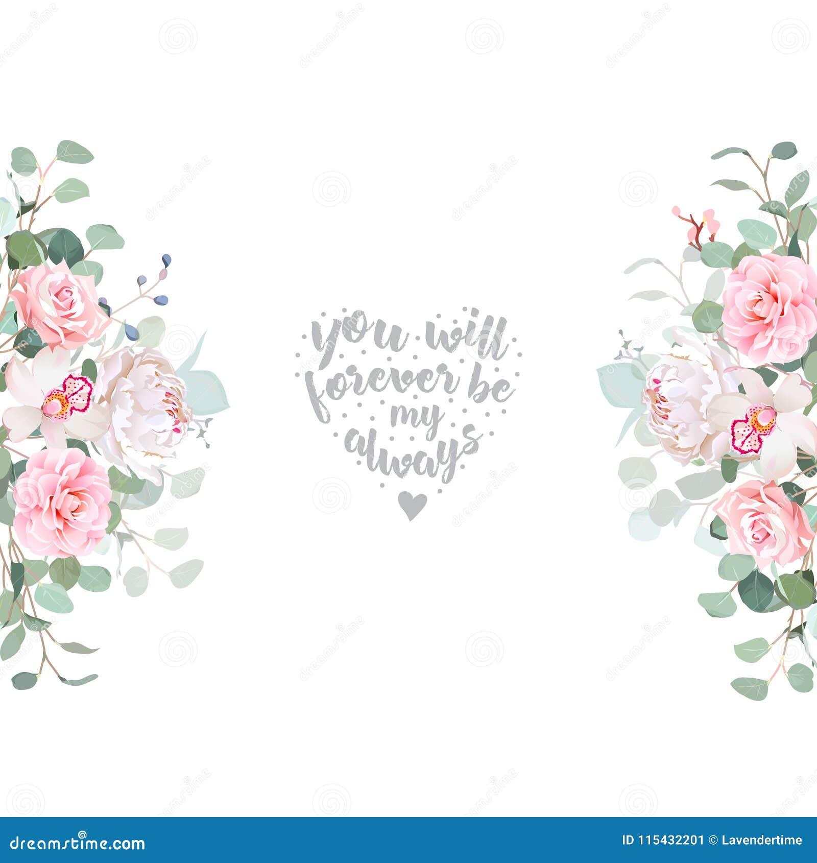 逗人喜爱的婚礼花卉传染媒介设计框架