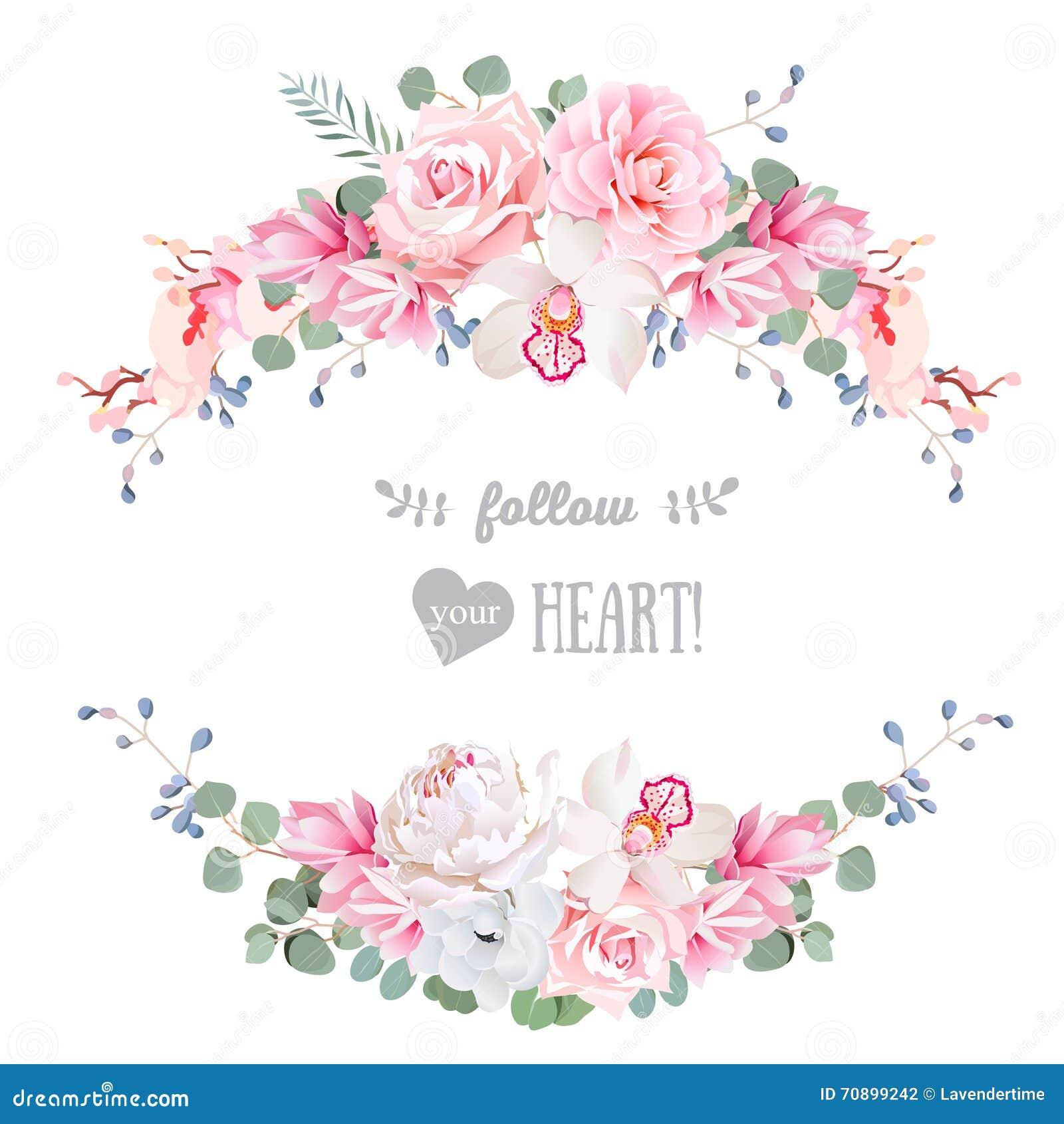 逗人喜爱的婚礼花卉传染媒介设计框架 罗斯,牡丹,兰花,银莲花属,桃红色花, eucaliptus离开