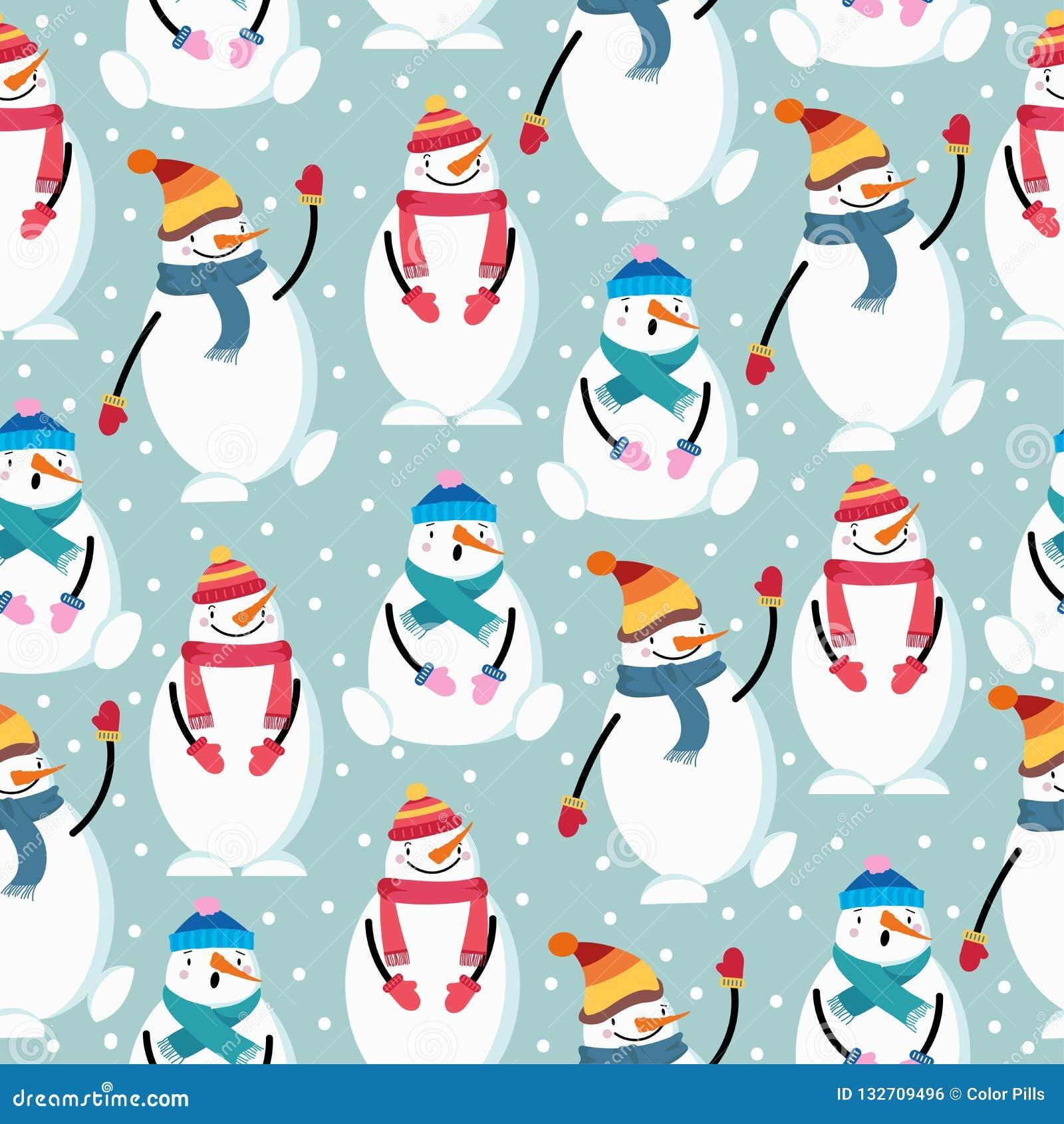逗人喜爱的平的与雪人的设计圣诞节无缝的样式
