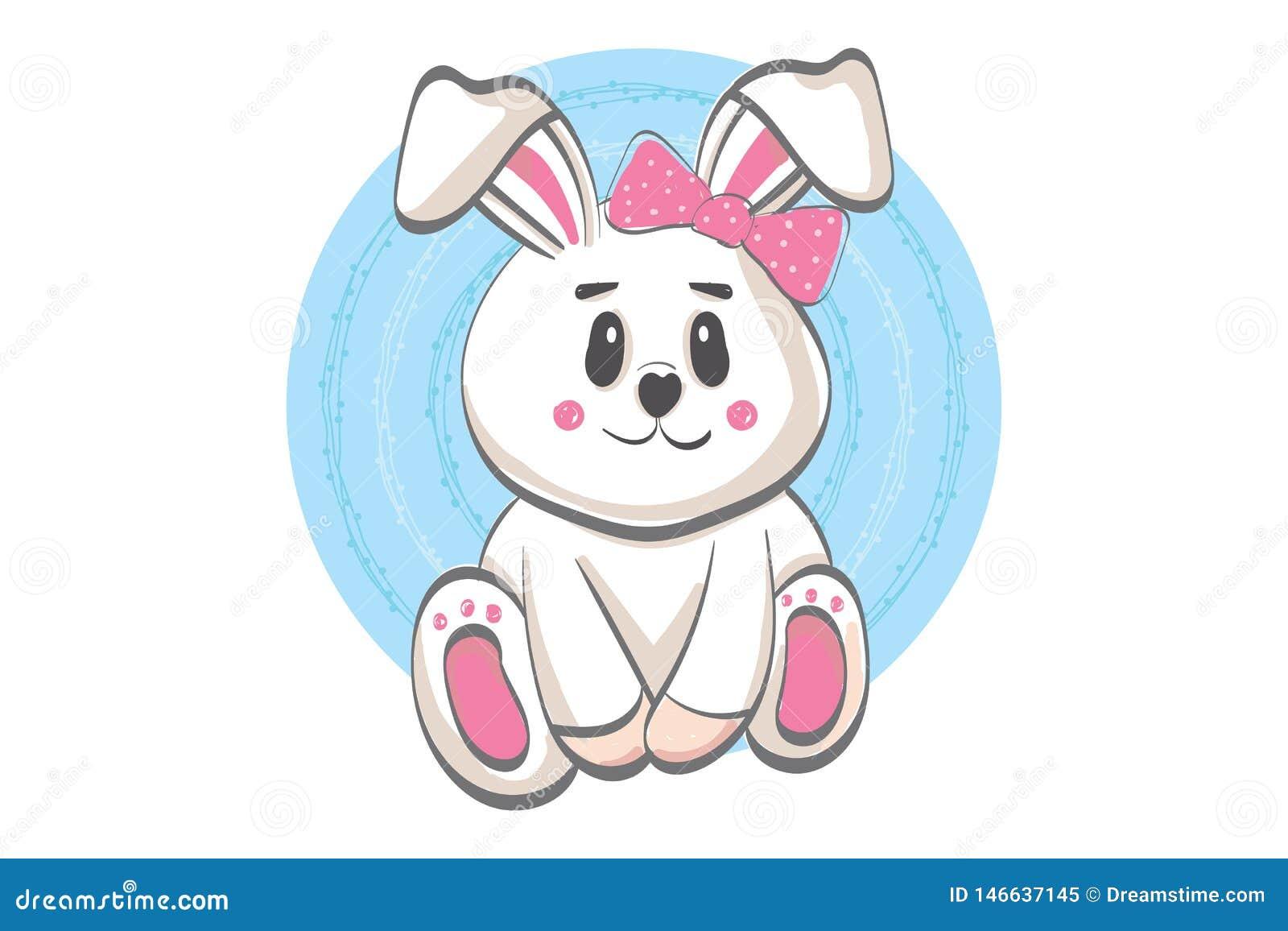 逗人喜爱的微笑的兔子例证-传染媒介平的动画片样式