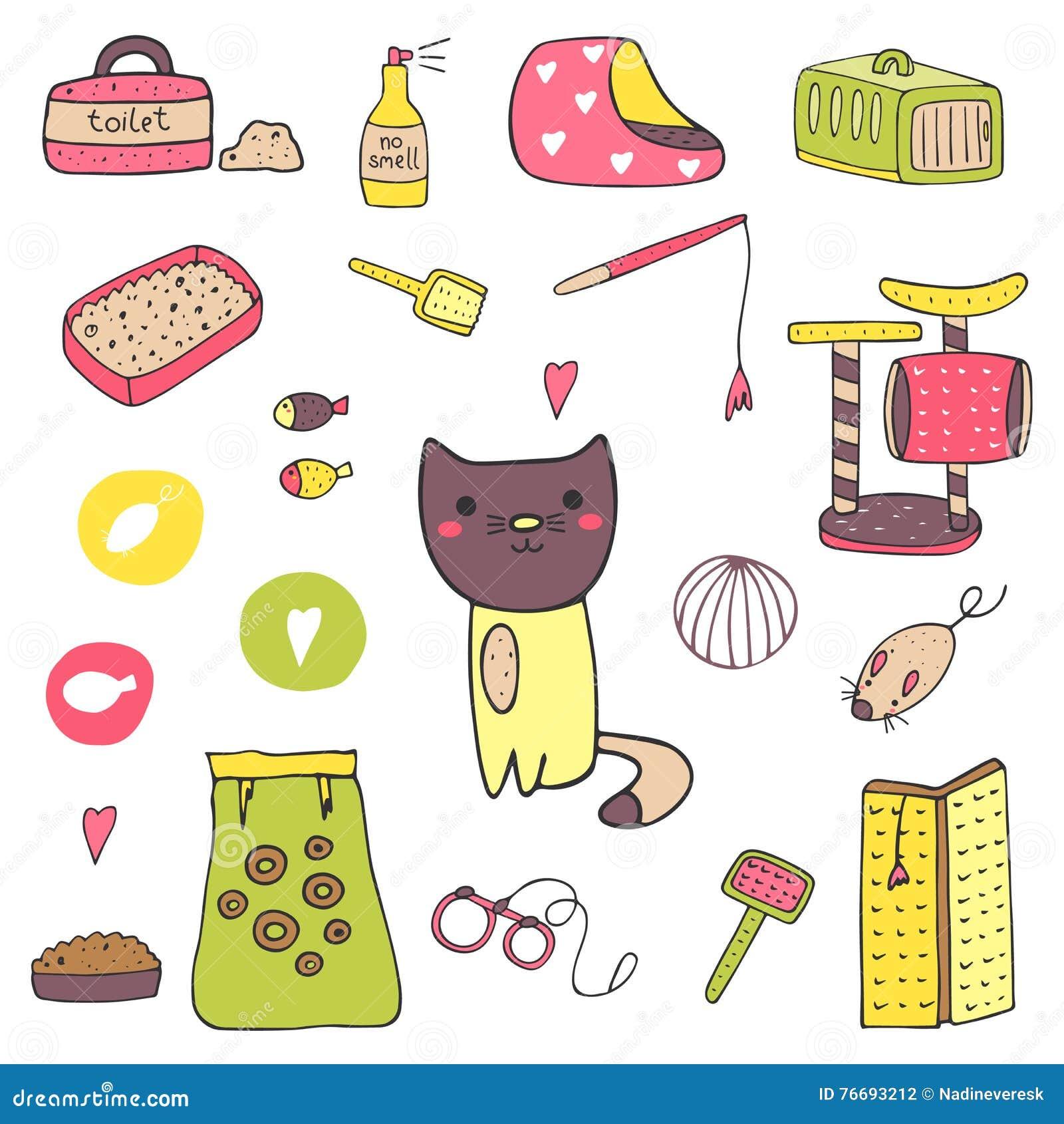 逗人喜爱的手拉的乱画猫材料