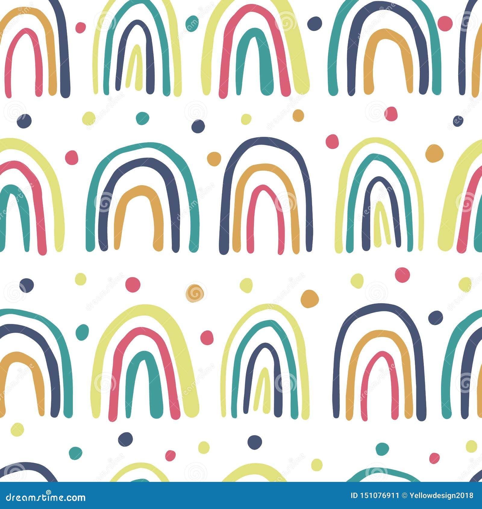 逗人喜爱的手拉的彩虹无缝的样式 圆点墙纸
