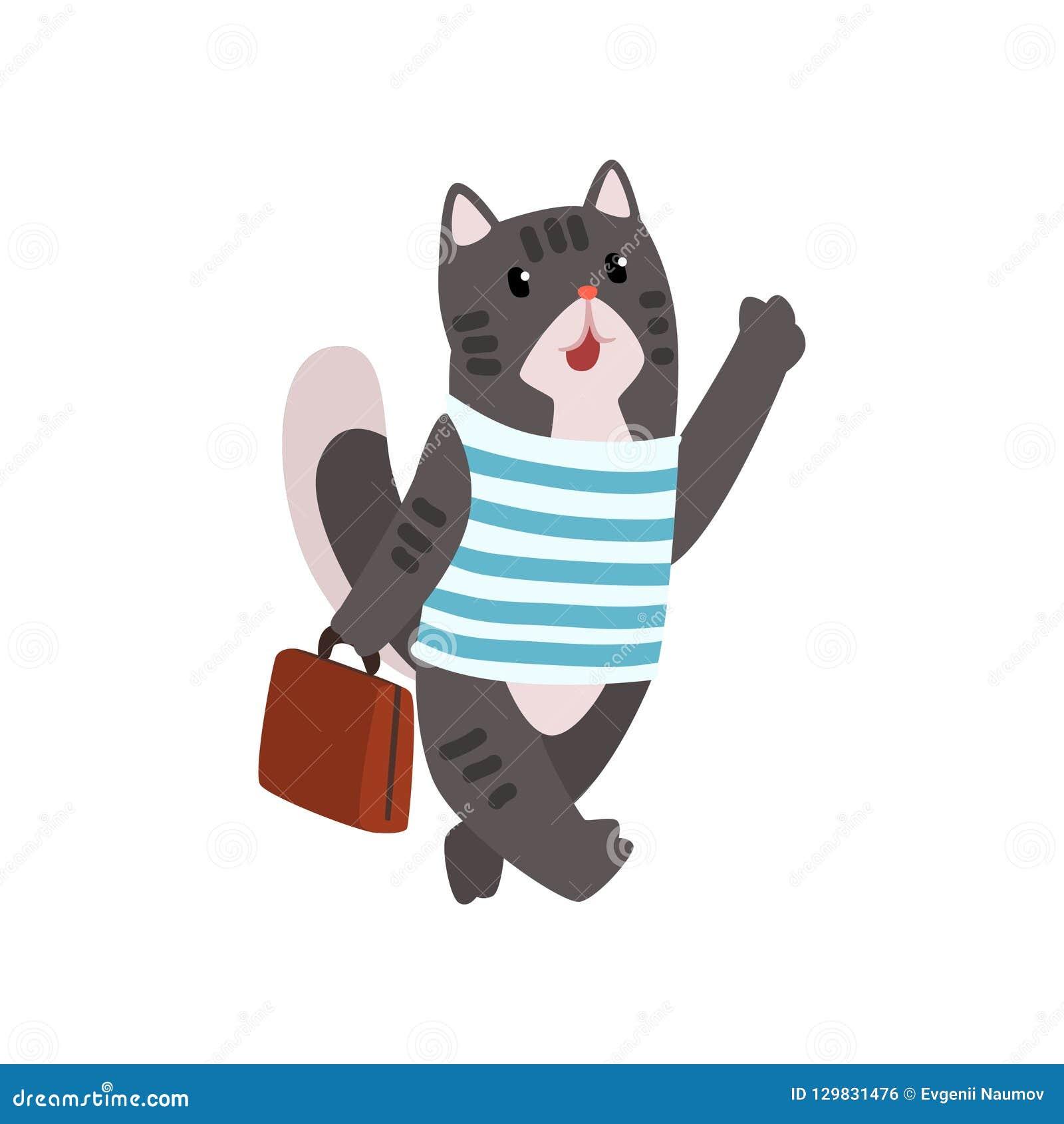 逗人喜爱的旅行与手提箱在白色背景的传染媒介例证的猫动物卡通人物