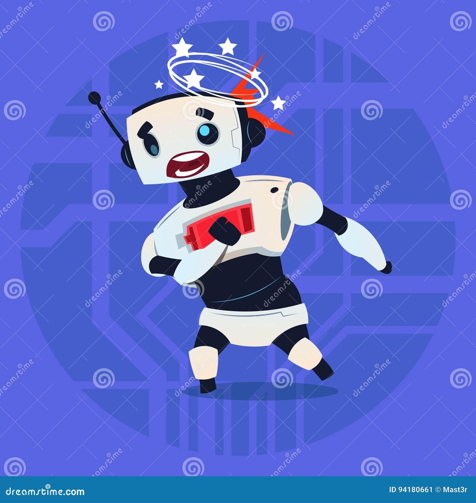 逗人喜爱的机器人头昏眼花的错误打破的现代人工智能技术概念
