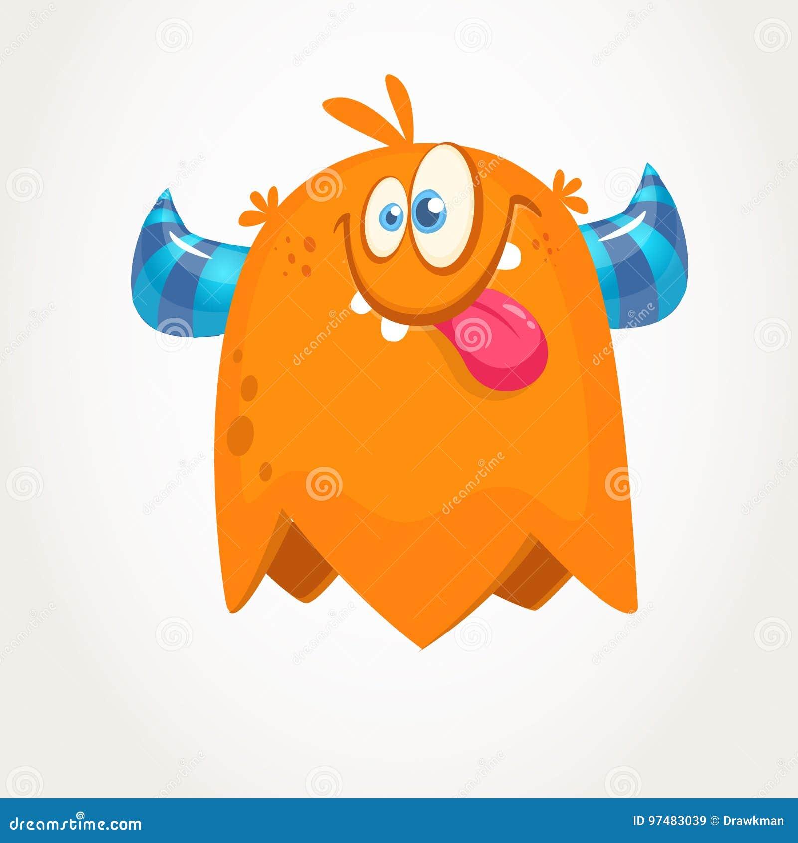 逗人喜爱的橙色有角的动画片妖怪 显示舌头的滑稽的飞行妖怪 万圣节向量例证