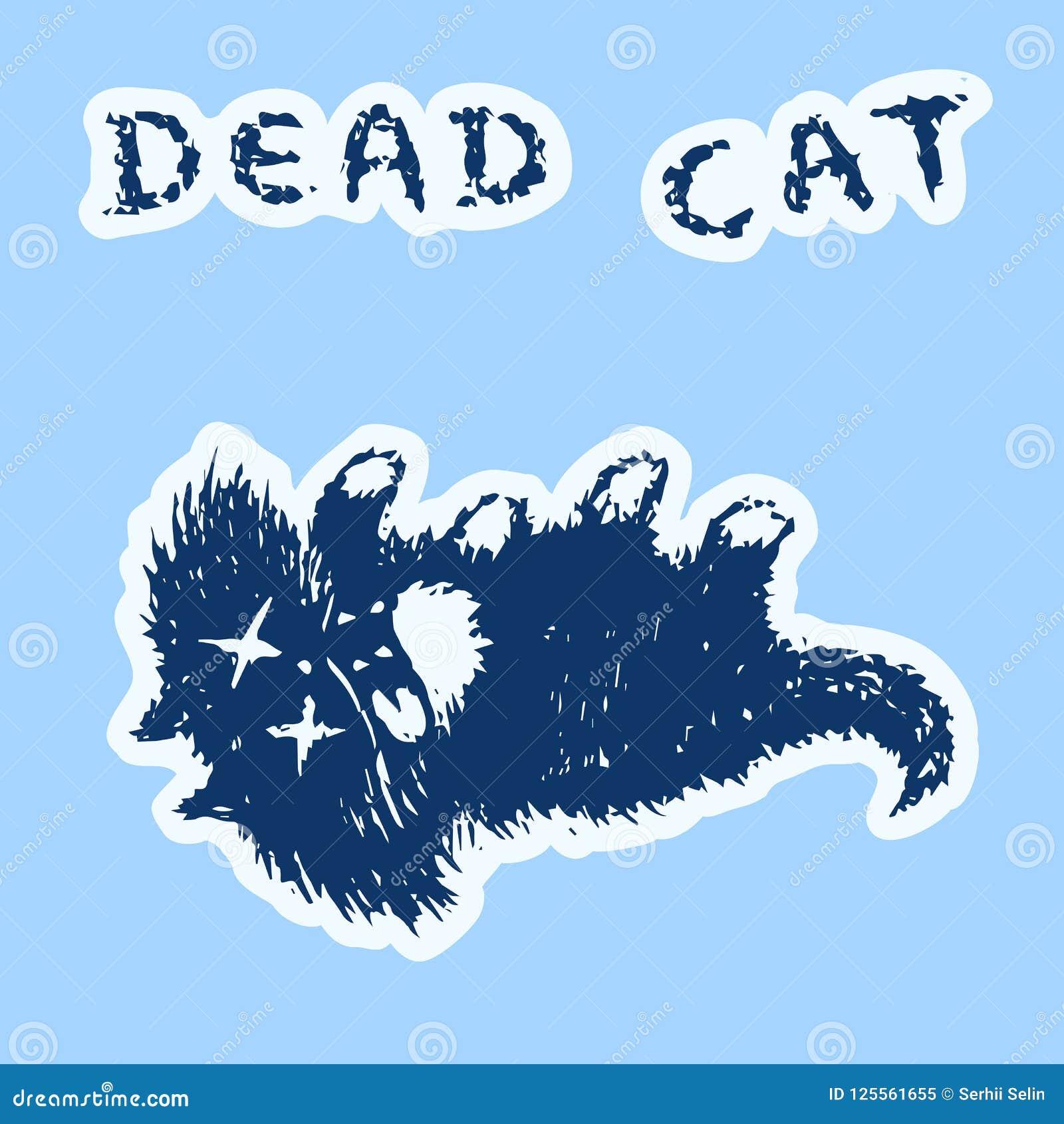 逗人喜爱的毛皮死的猫和谎言 也corel凹道例证向量
