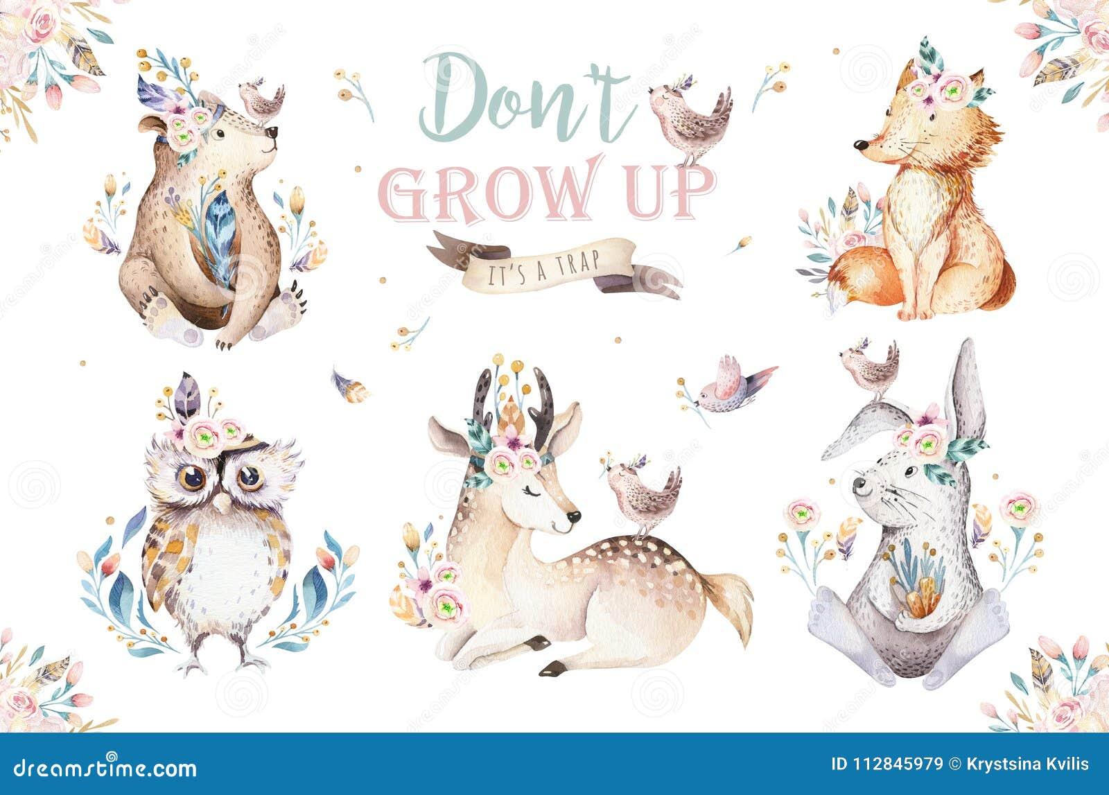 逗人喜爱的水彩漂泊婴孩动画片幼儿园的兔子和熊动物,森林地鹿、狐狸和猫头鹰托儿所