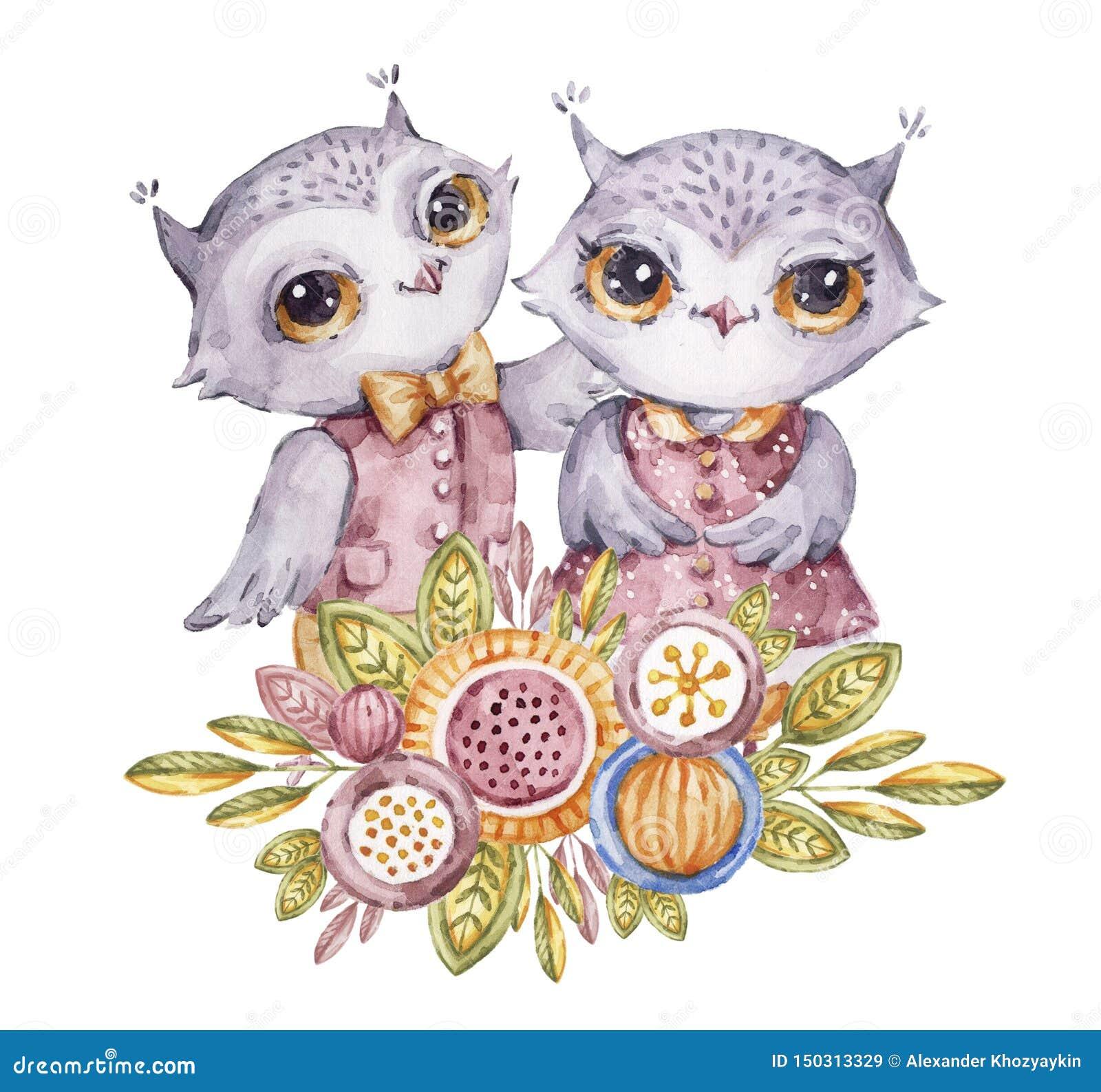 逗人喜爱的水彩猫头鹰和花在幼稚样式