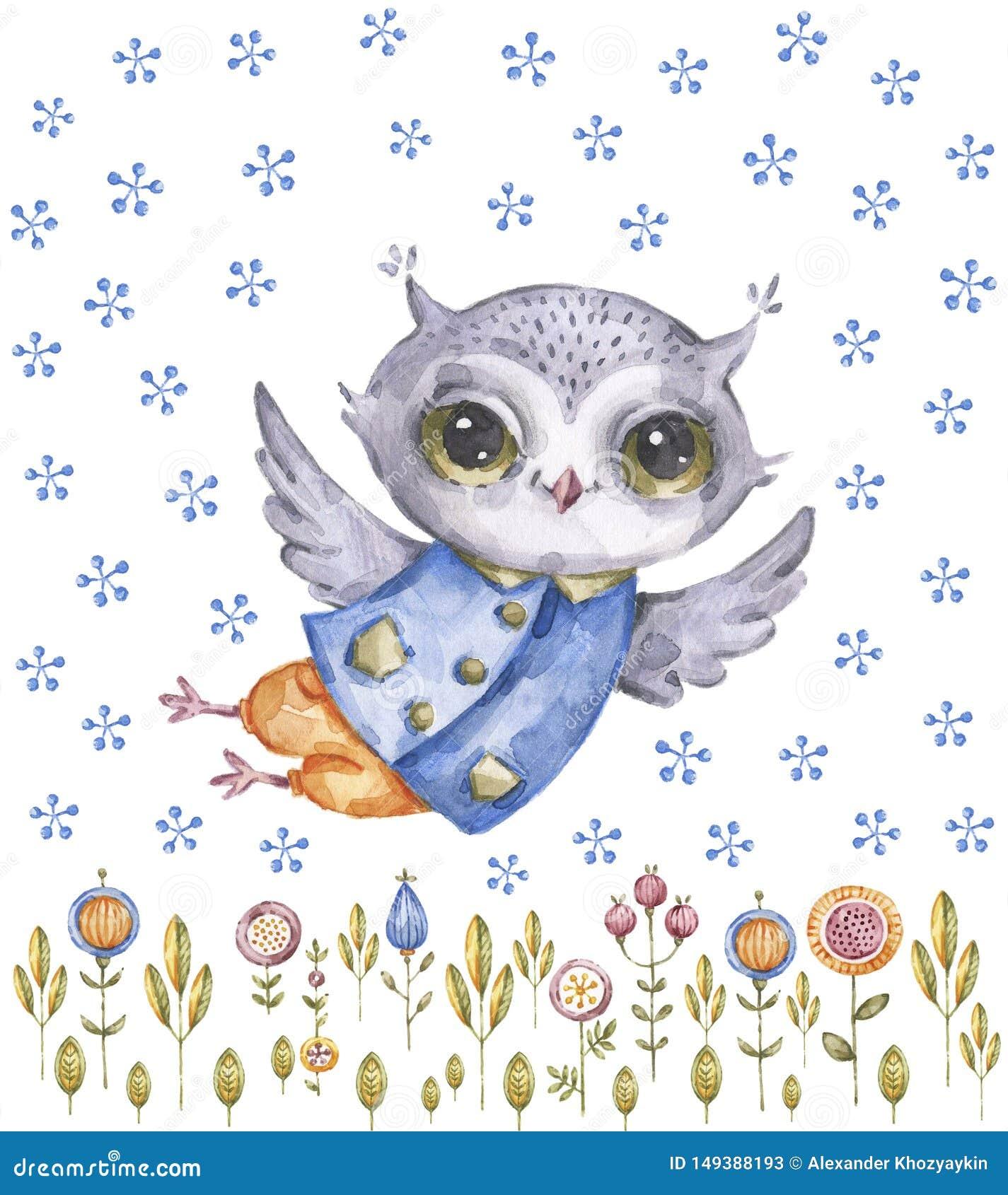 逗人喜爱的水彩画猫头鹰和野花,幼稚样式