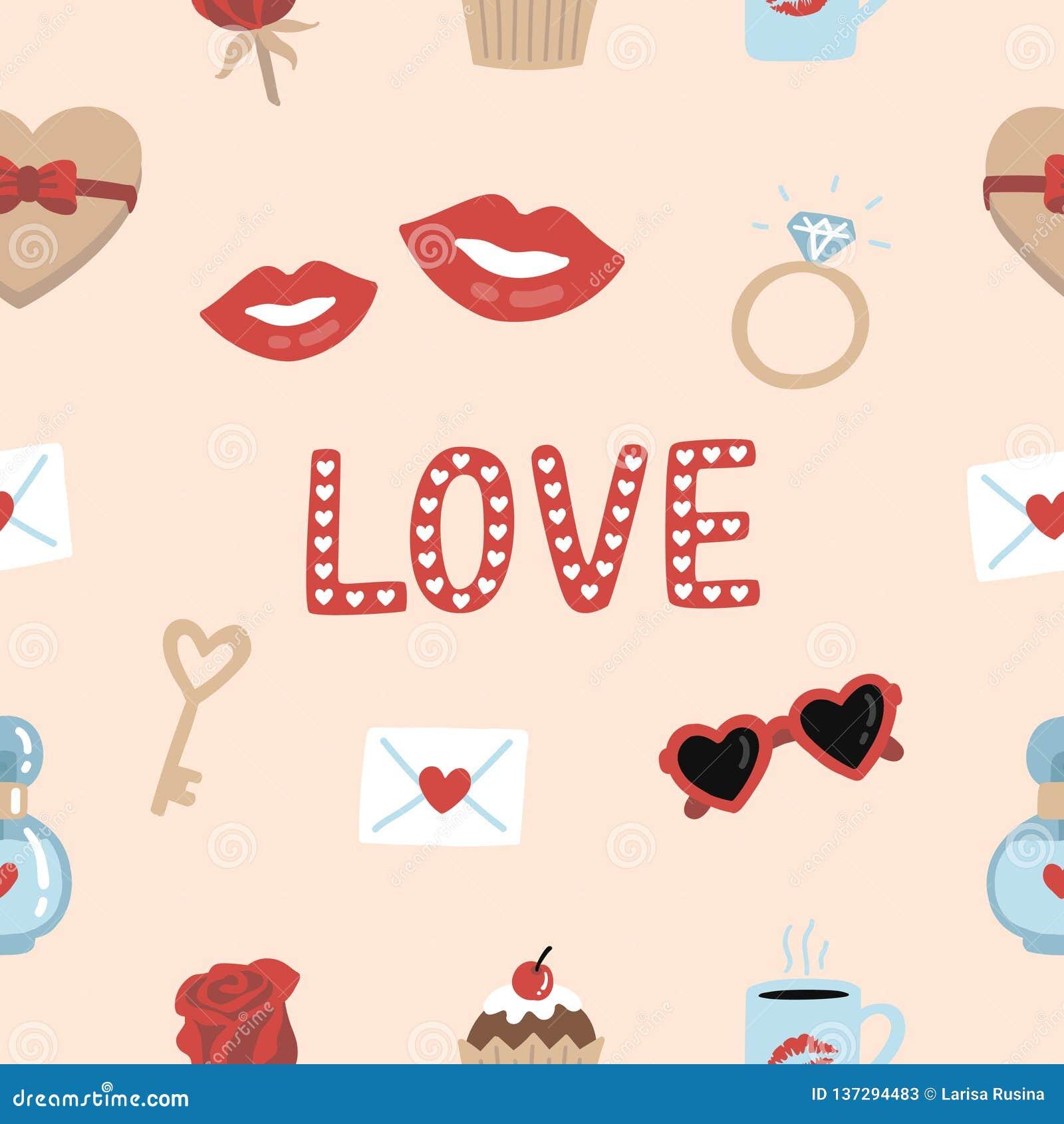 逗人喜爱的浪漫元素和印刷术无缝的样式背景为valentine's天