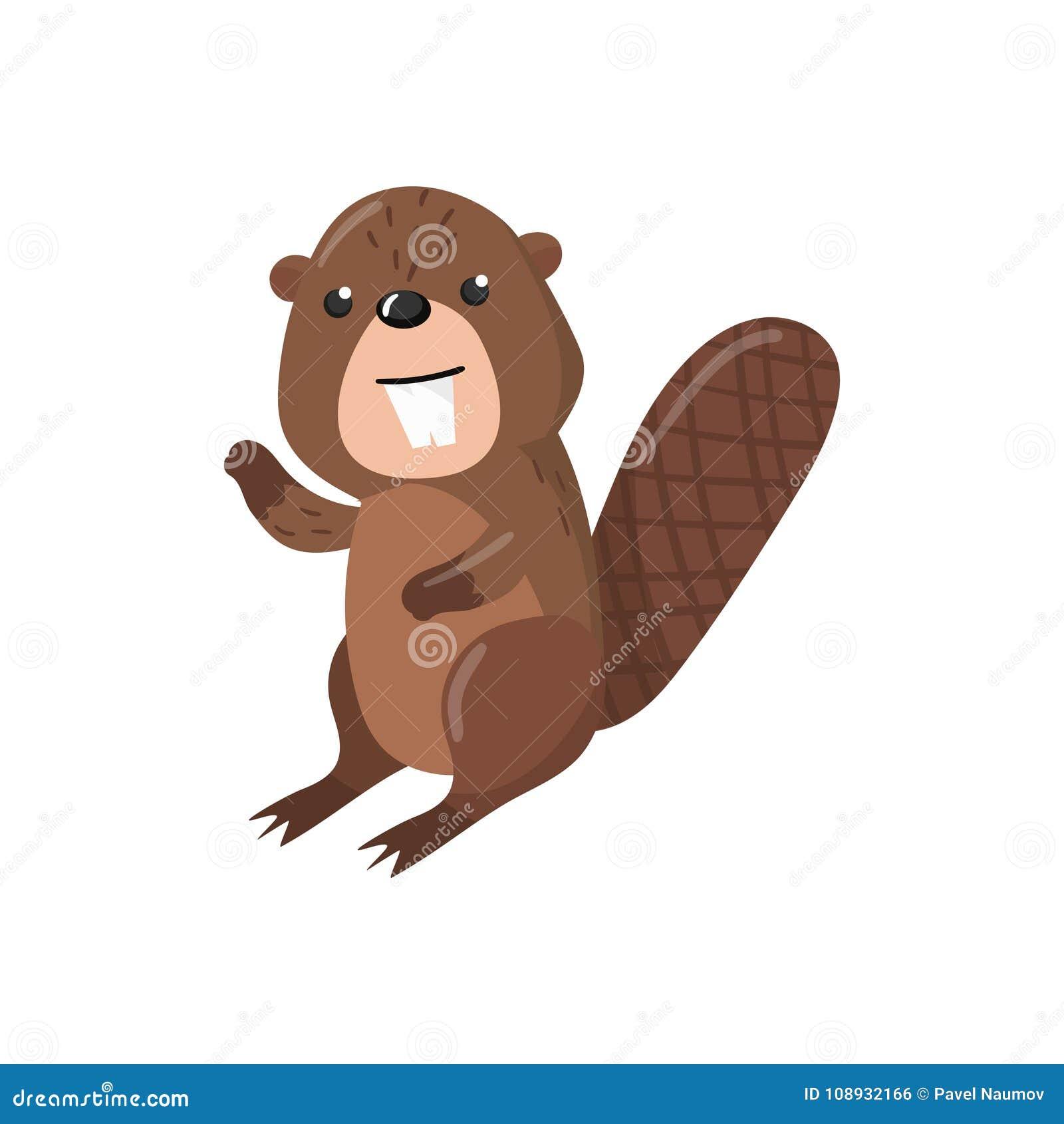逗人喜爱的海狸森林地动画片动物传染媒介例证