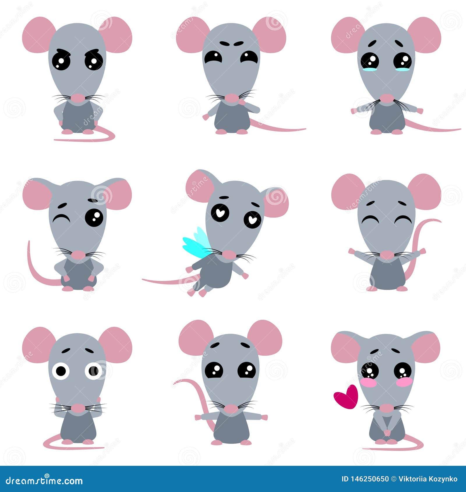 逗人喜爱的灰色鼠 在kawaii样式的鼠 E
