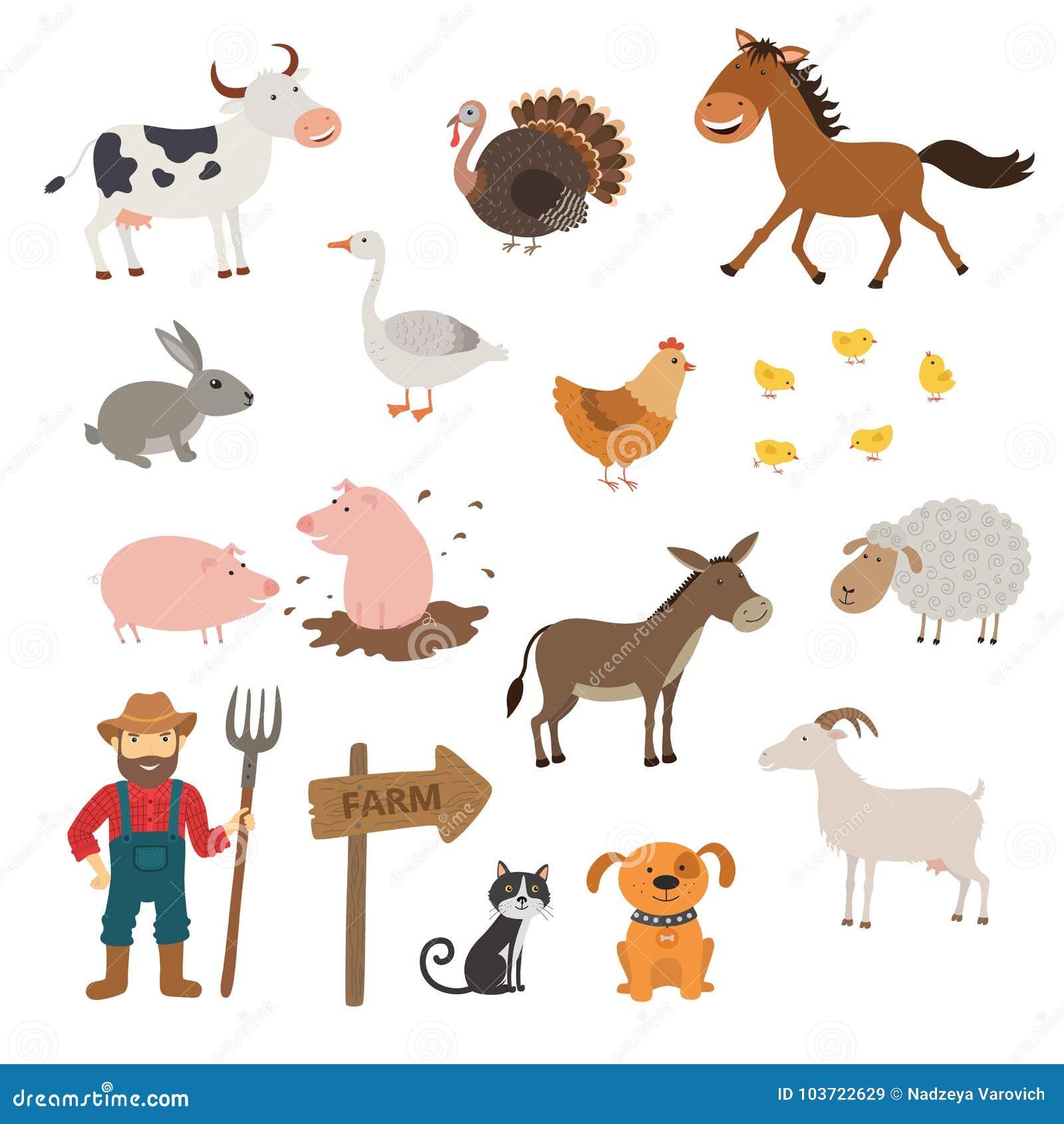 逗人喜爱的牲口在平的样式在白色背景设置了被隔绝 动画片牲口