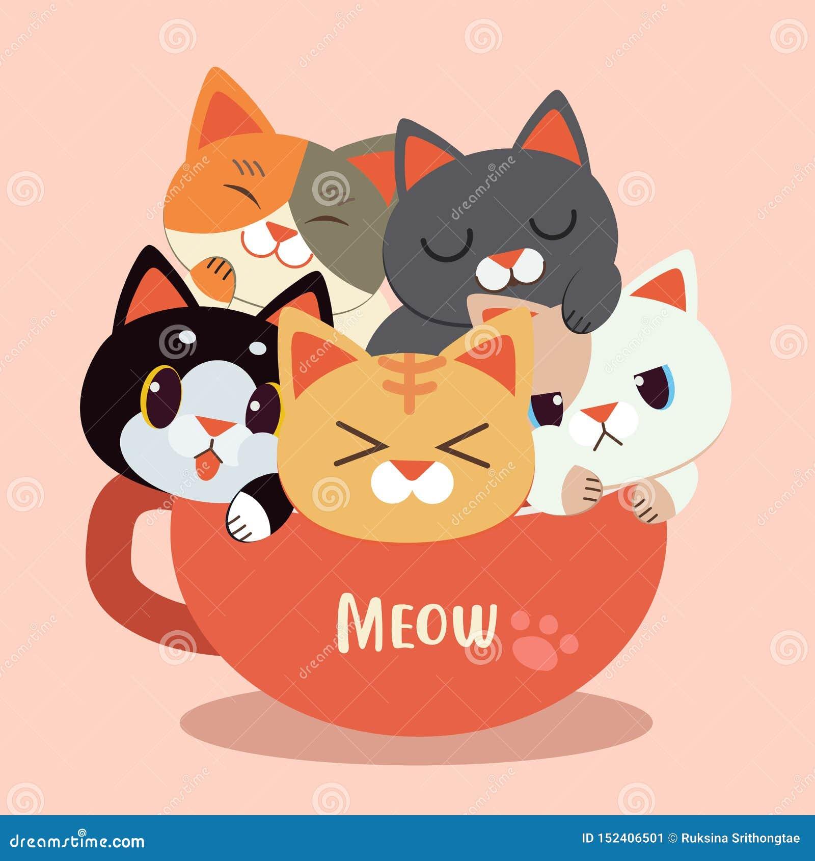 逗人喜爱的猫动画片在mup杯子的